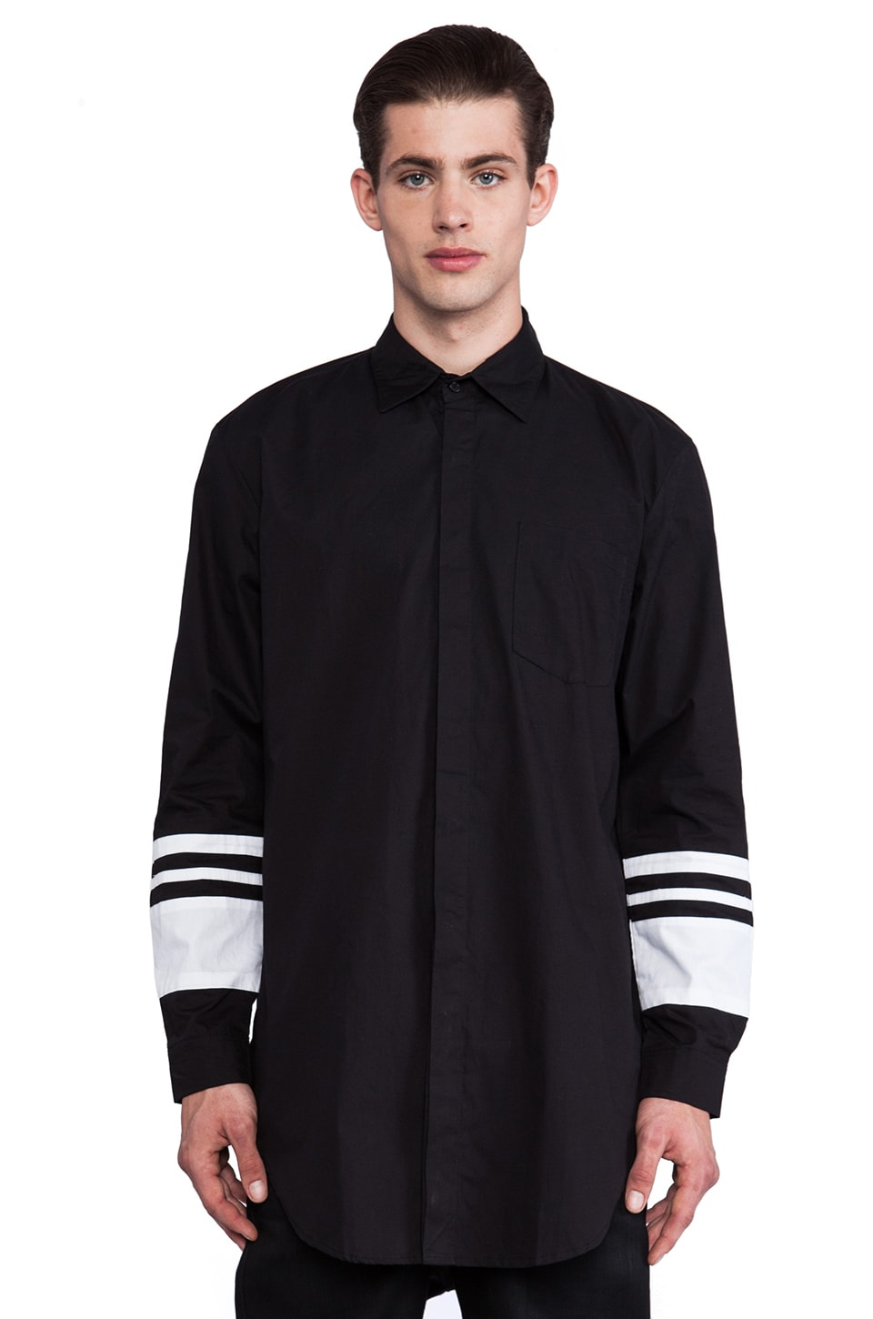 SKINGRAFT Varsity Collared Shirt in Black