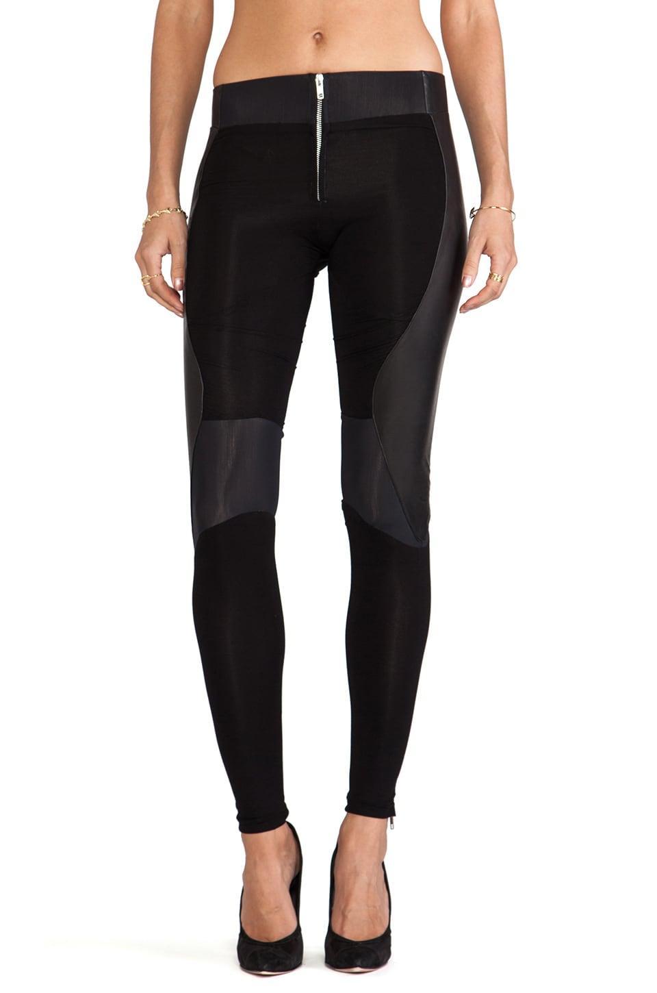 SKINGRAFT Leather Running Leggings in Black