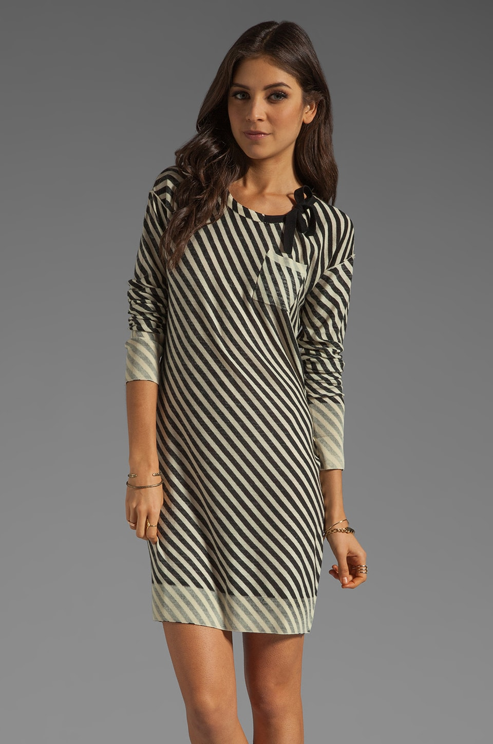 SONIA by Sonia Rykiel Striped Shirt Dress in White/Black