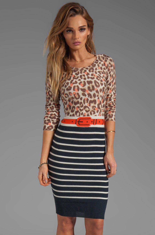SONIA by Sonia Rykiel Thin Wool Leopard Dress in Leopard/Black/Viva