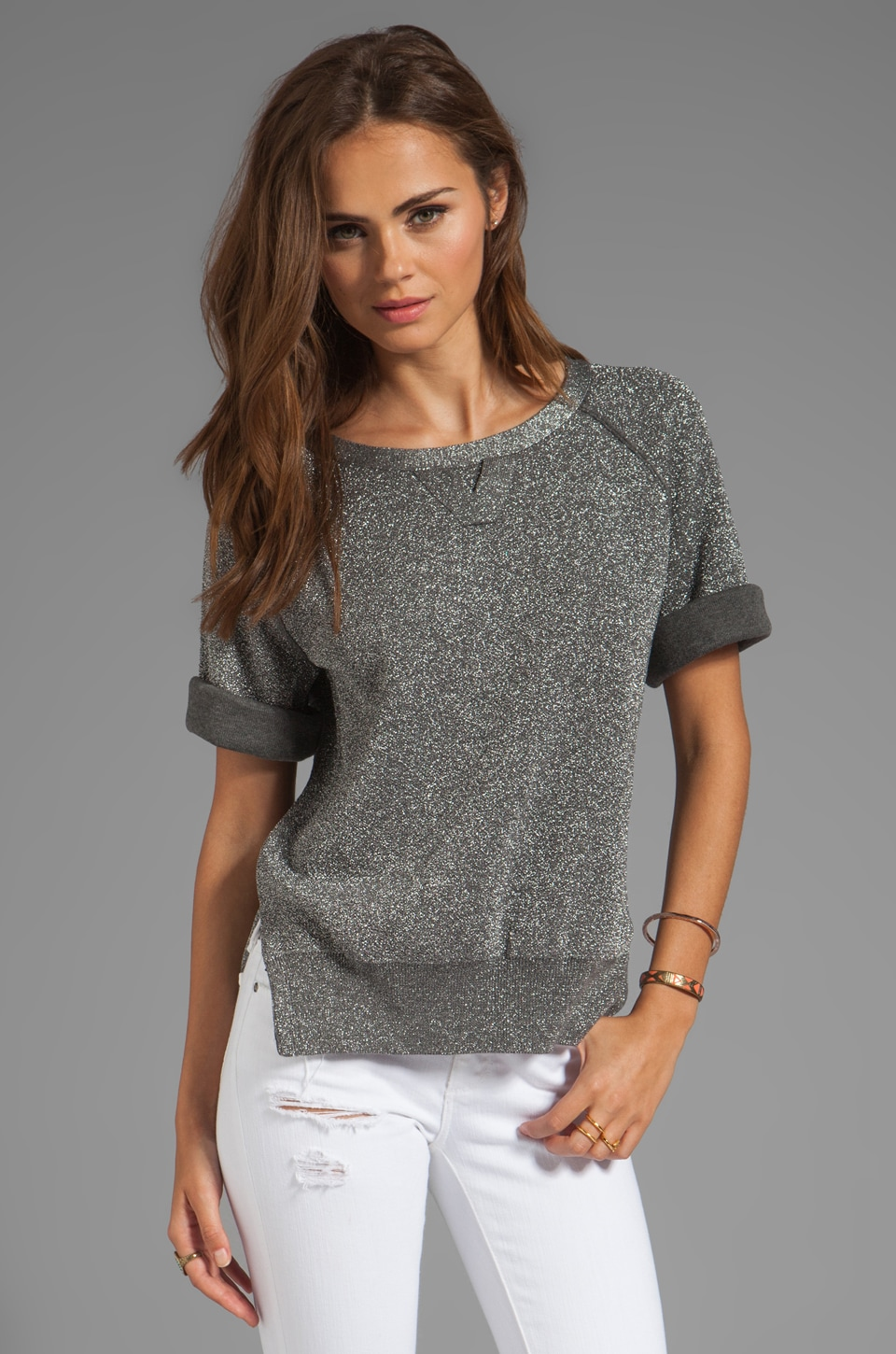 SONIA by Sonia Rykiel Cotton and Lurex Short Sleeve Sweater in Grey/Silver