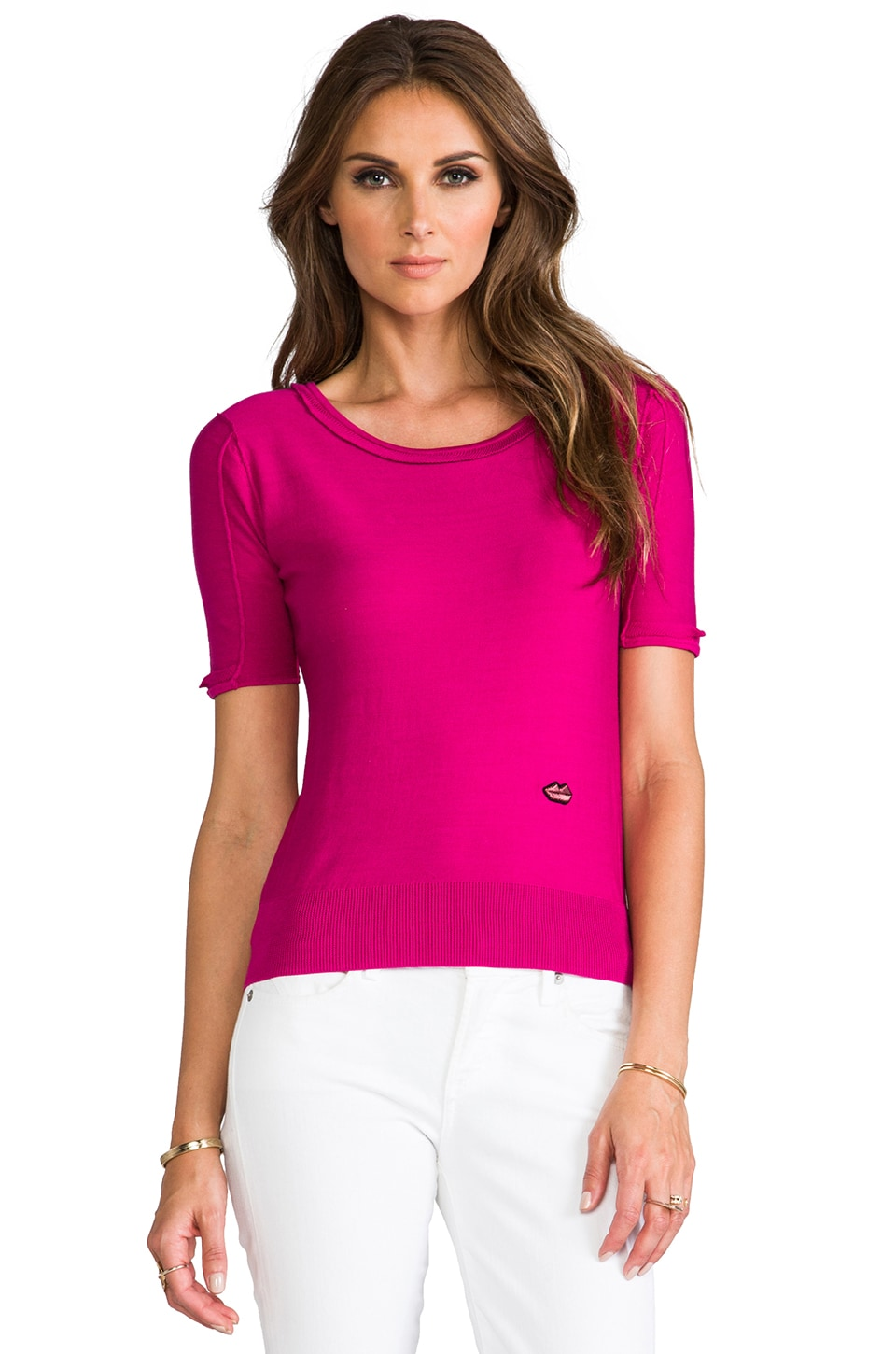 SONIA by Sonia Rykiel Short Sleeve Sweater in Peony