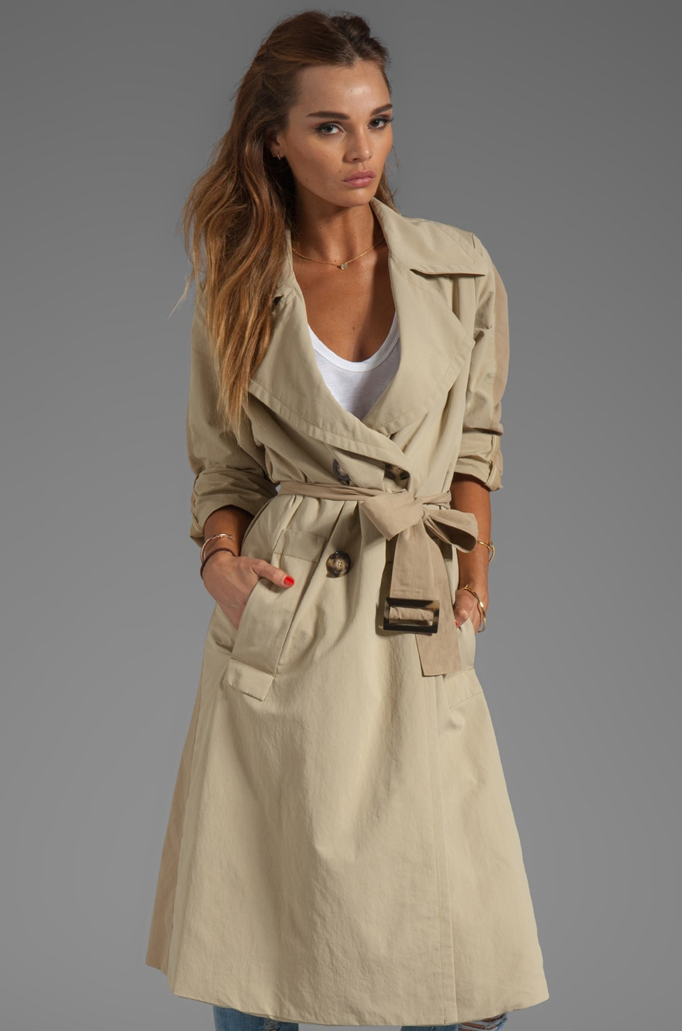SONIA by Sonia Rykiel Long Trench Jacket in Beige/Light Beige/Beige