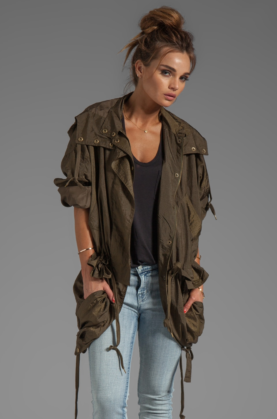 SONIA by Sonia Rykiel Light Nylon Short Trench With Hood in Khaki