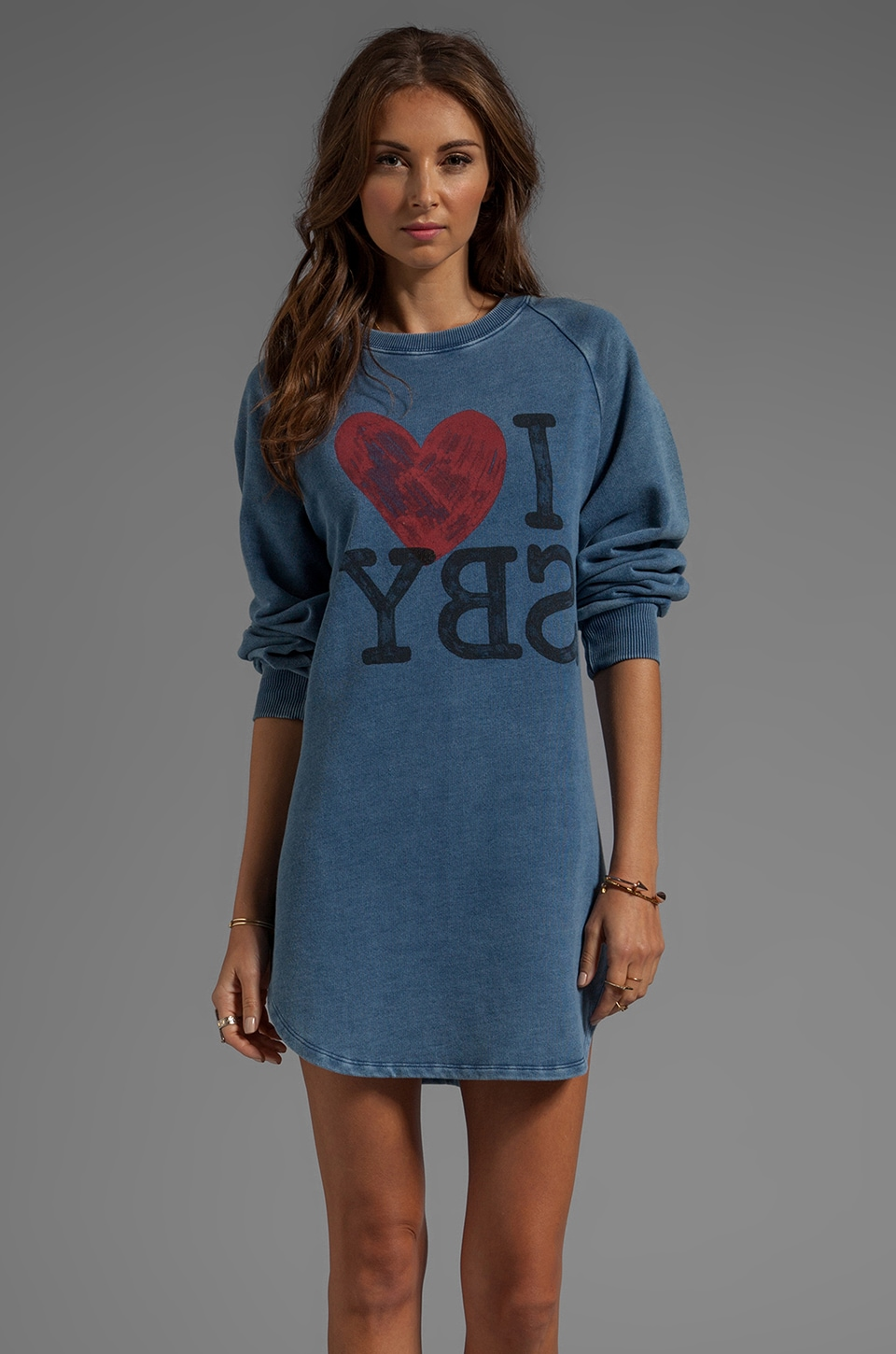 SONIA by Sonia Rykiel Sweatshirt Dress in Bleu Chambray