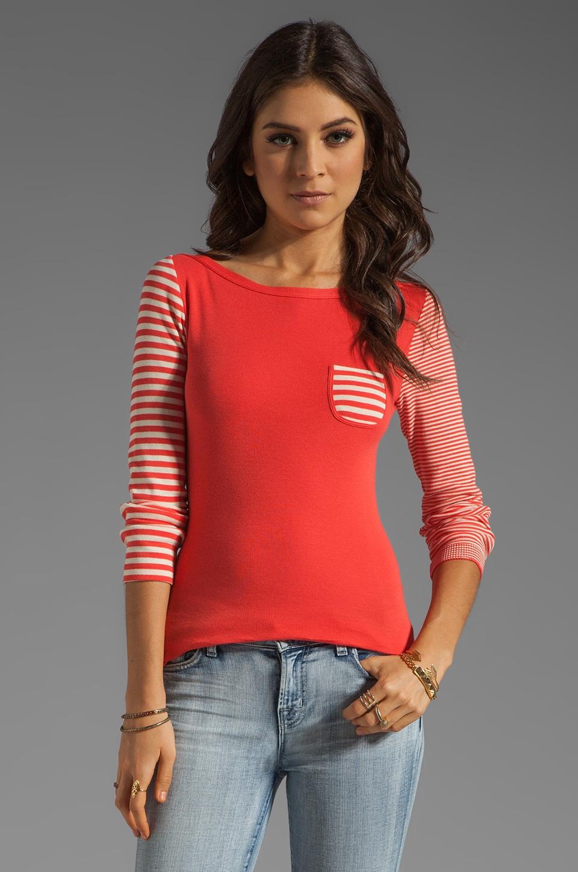 SONIA by Sonia Rykiel Long Sleeve Stripe Top in Lily/Darling
