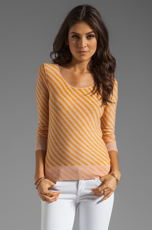 SONIA by Sonia Rykiel Striped Long Sleeve Shirt in Pink/Mango