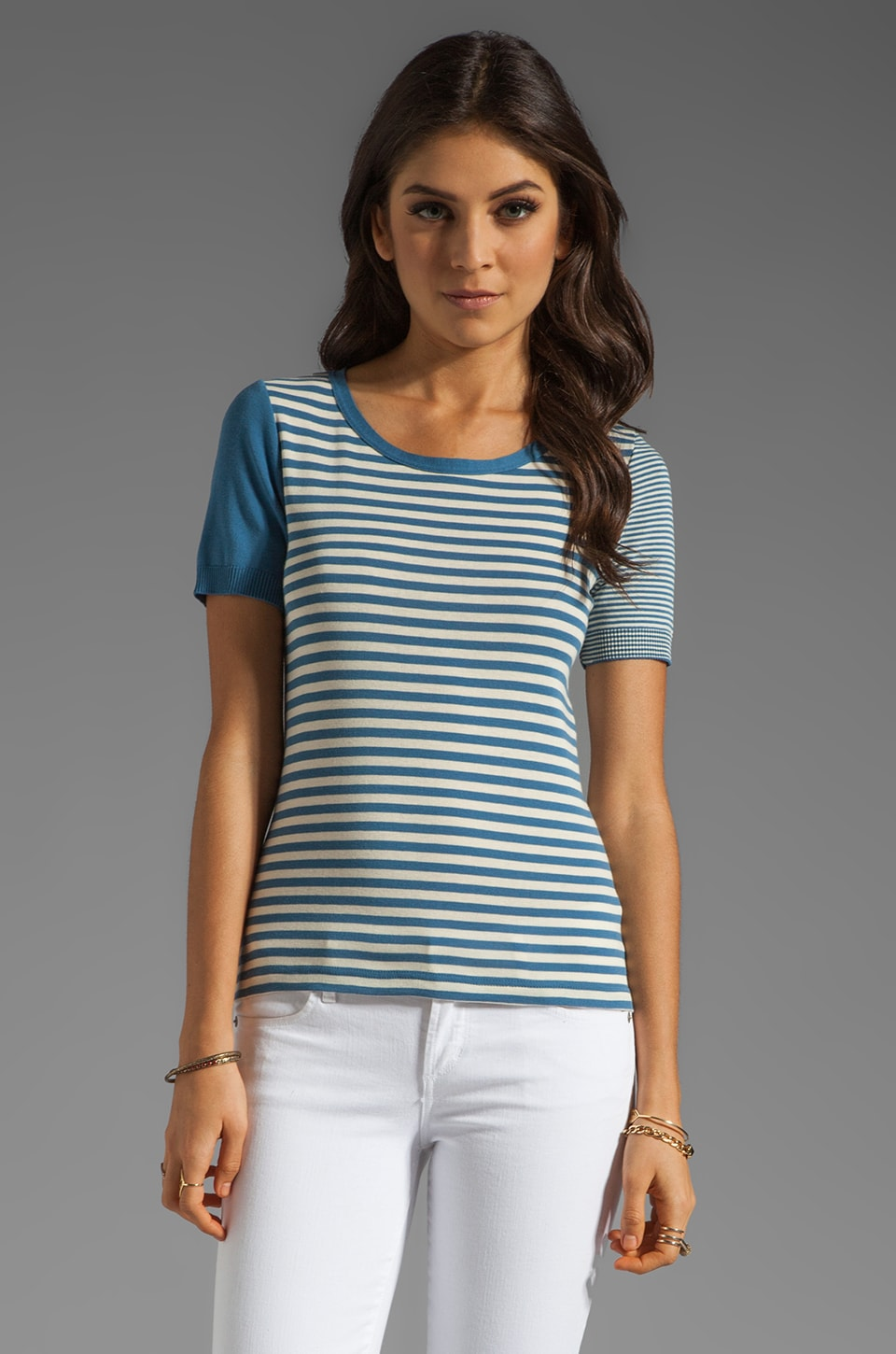 SONIA by Sonia Rykiel Short Sleeve Stripe Top in Lily/Denim