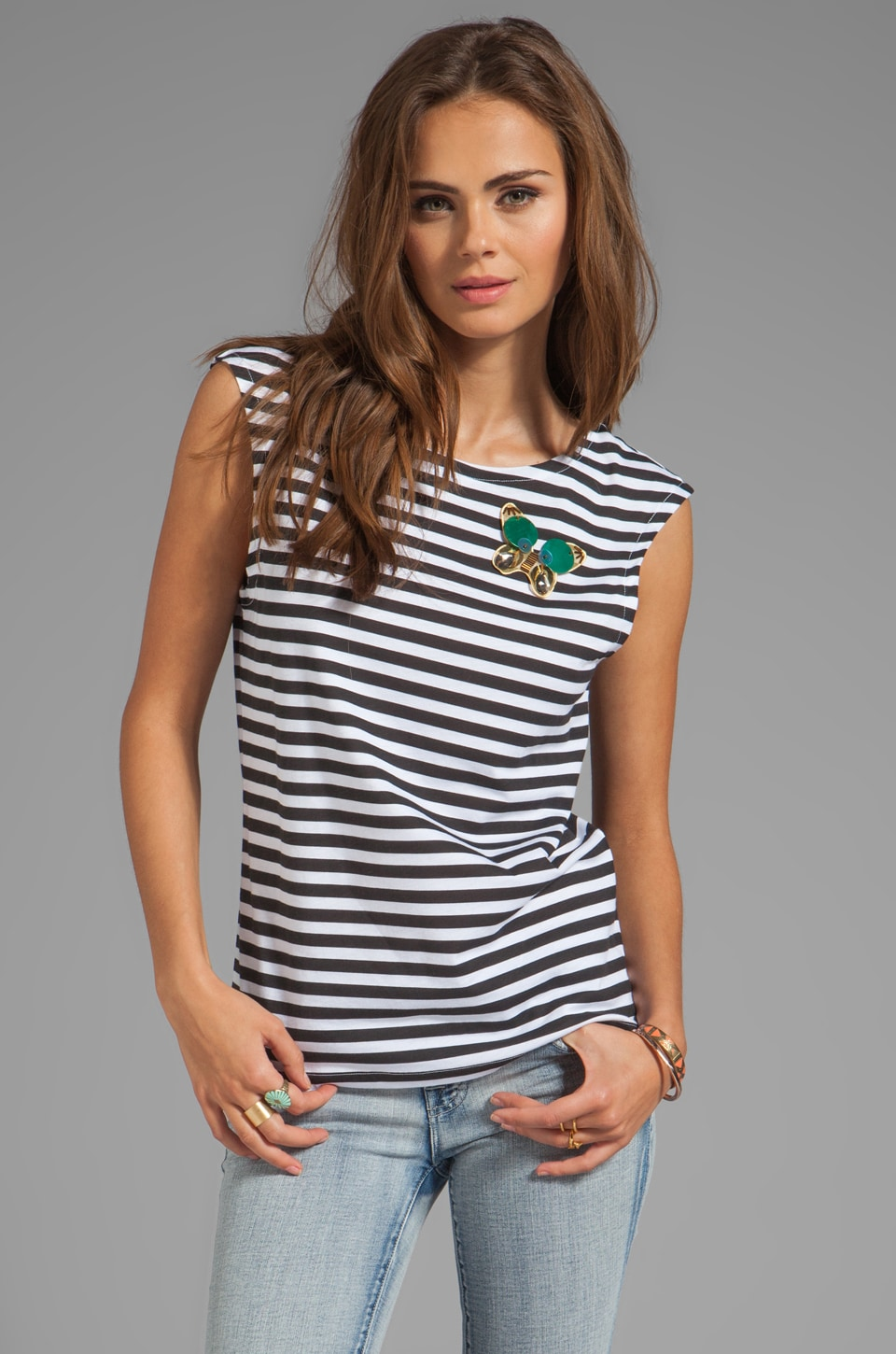 SONIA by Sonia Rykiel Butterfly Striped Jersey Tee in Black/Crystal