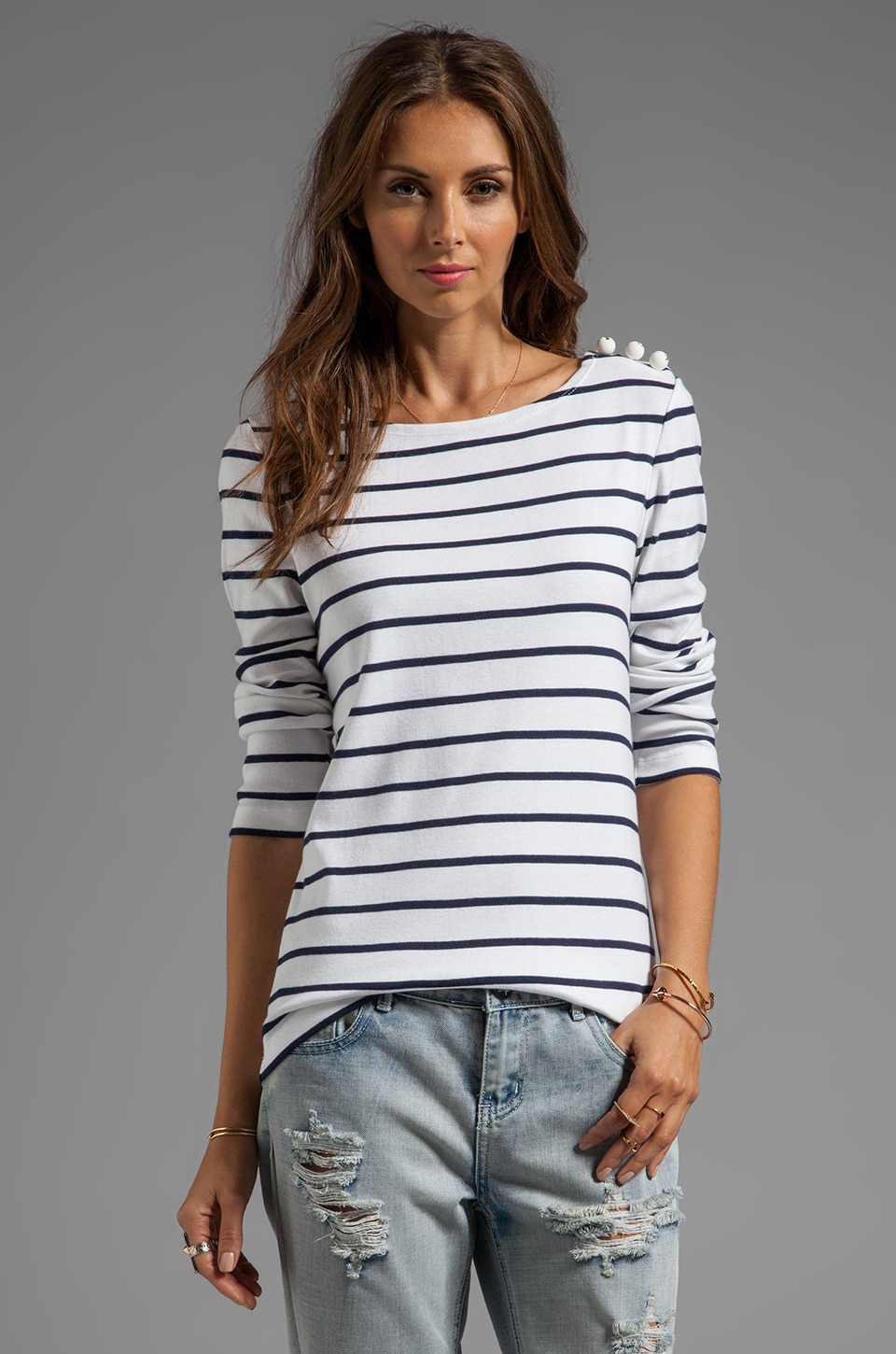 SONIA by Sonia Rykiel Tee Stripe Shirt in Blanc/Encre
