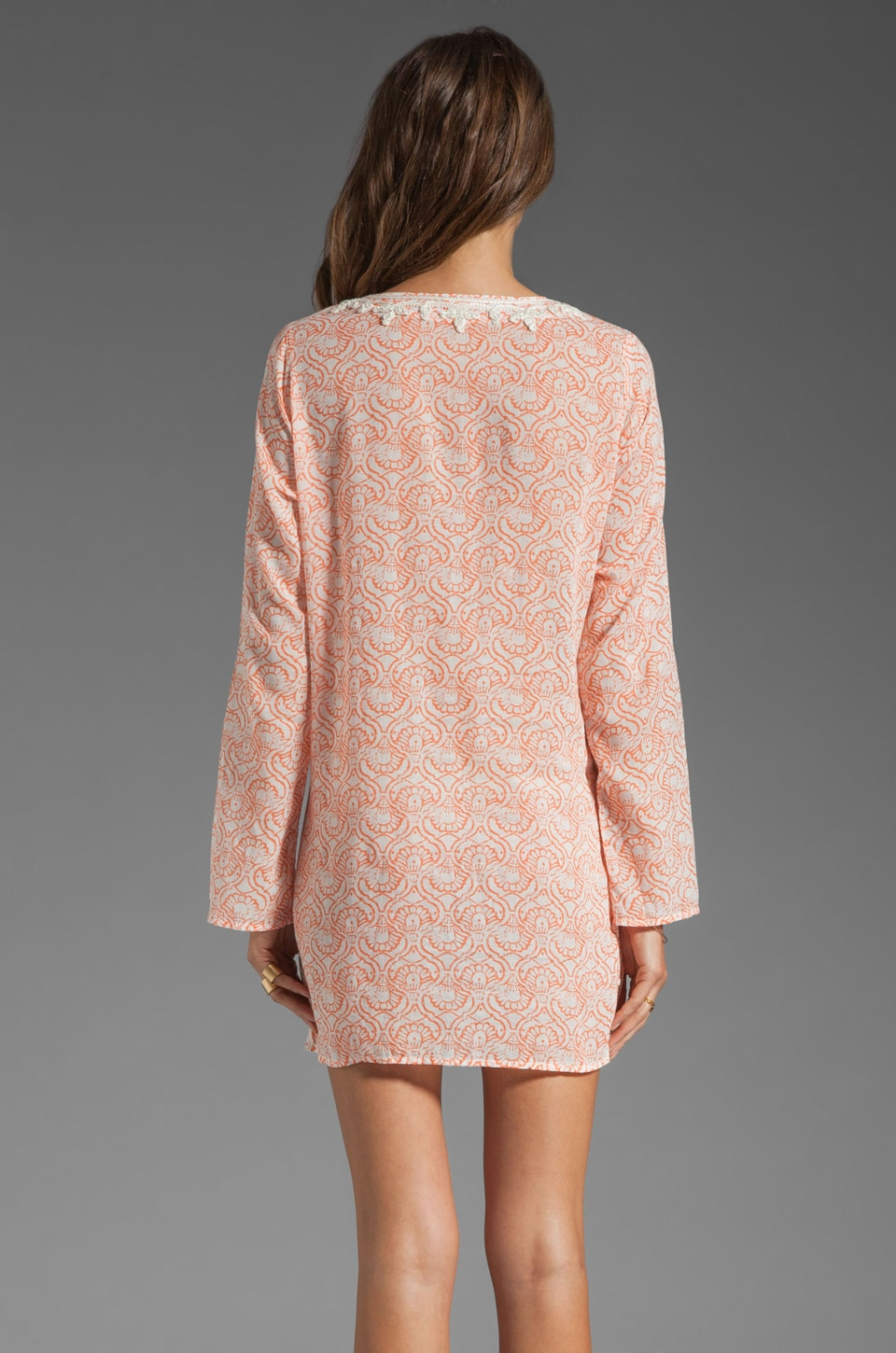 Soft Joie Carney Print Dress in Neon Coral