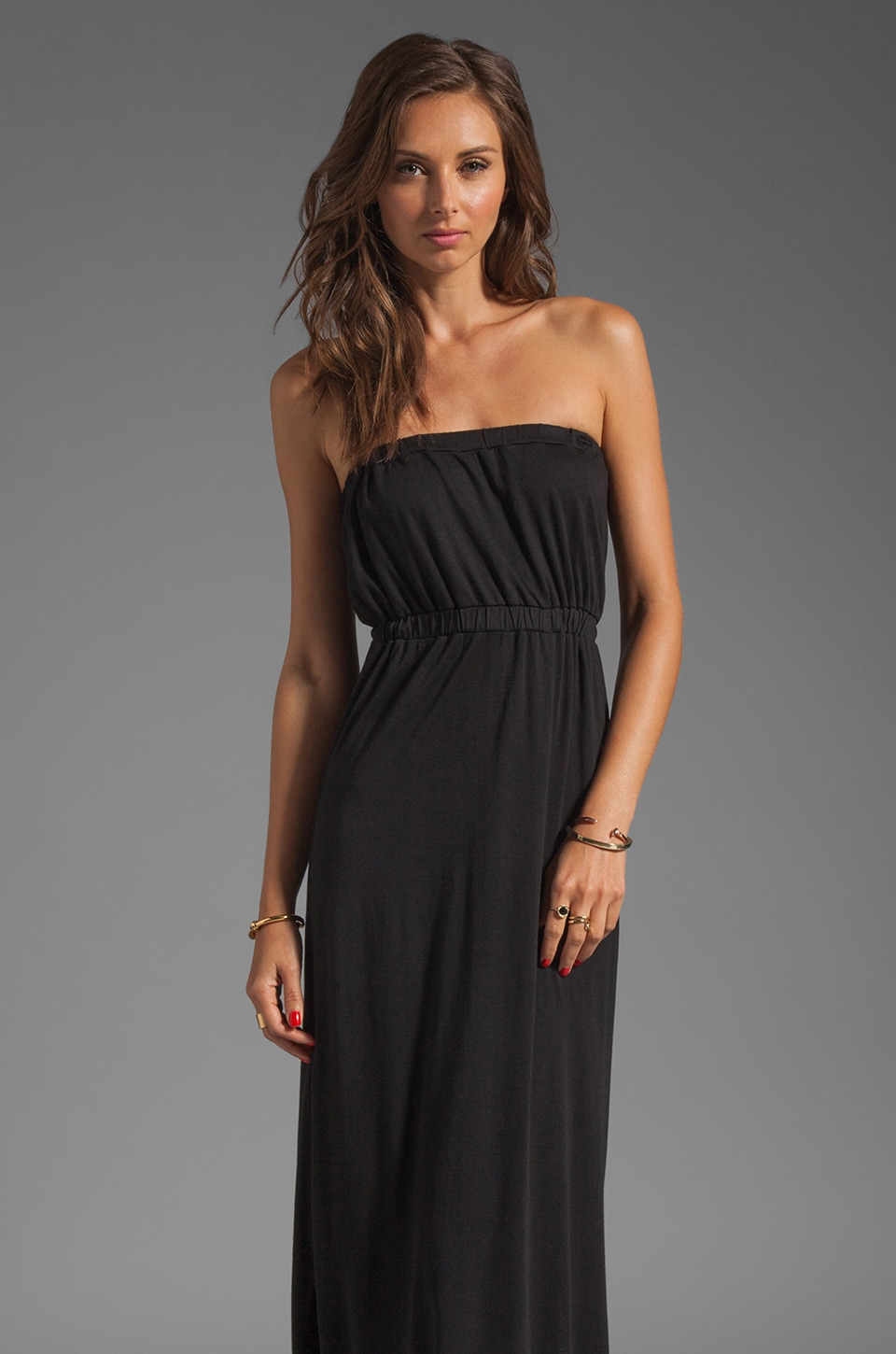 Soft Joie Cade Strapless Jersey Dress in Caviar