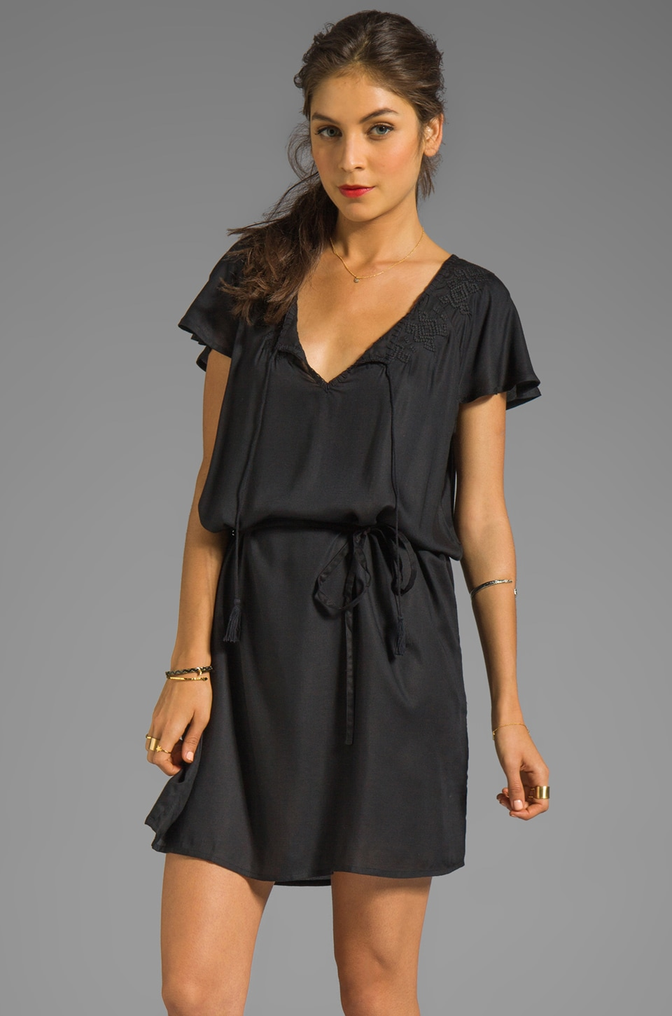 Soft Joie Victoria Embroidery Dress in Caviar