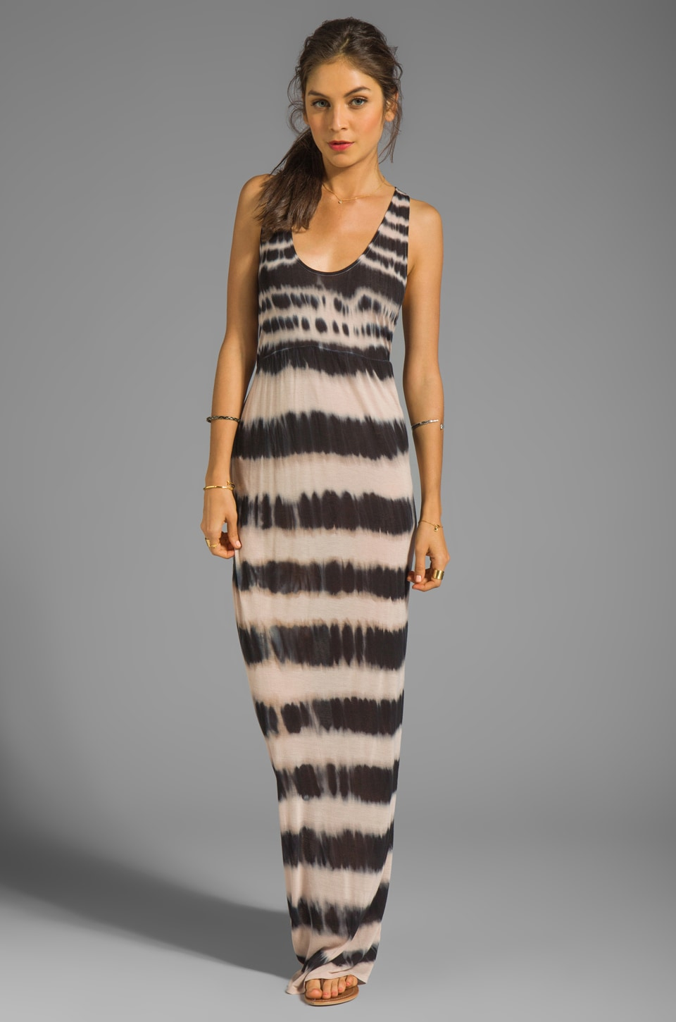 Soft Joie Fori Tie Dye Maxi Dress in Caviar/Nude