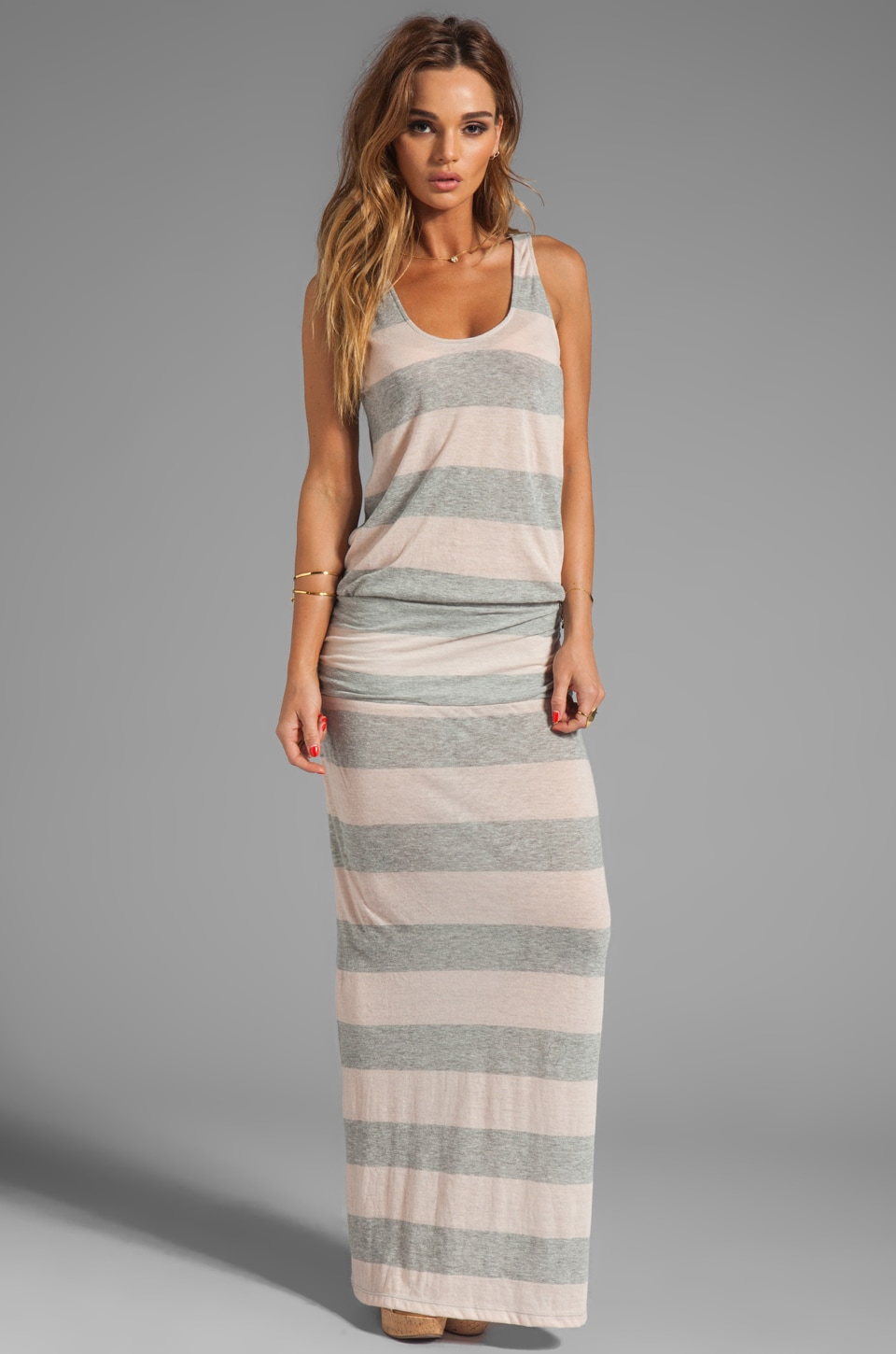Soft Joie Wilcox Stripe Dress in Heather Grey/Nude