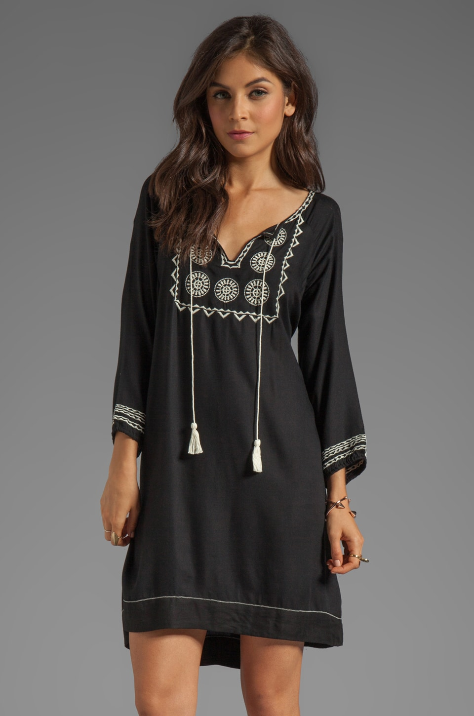 Soft Joie Chauncey Embroidered Dress in Caviar/Vanilla