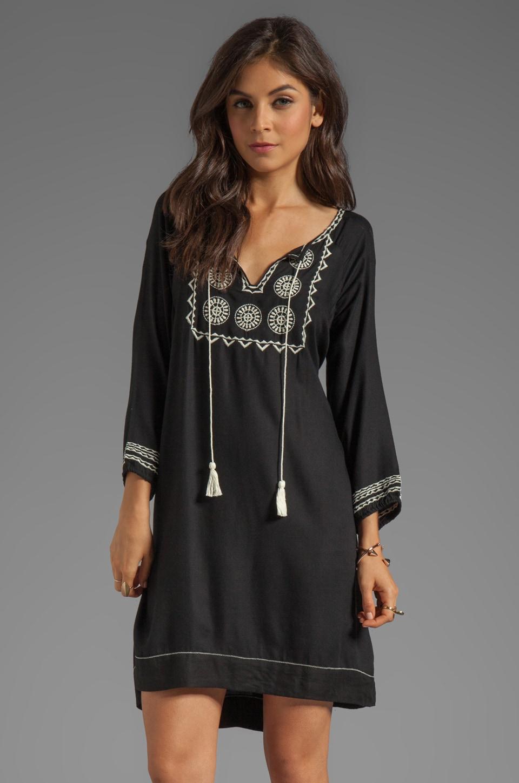 Soft Joie Chauncey Embroidered Dress in Caviar/Vanilla