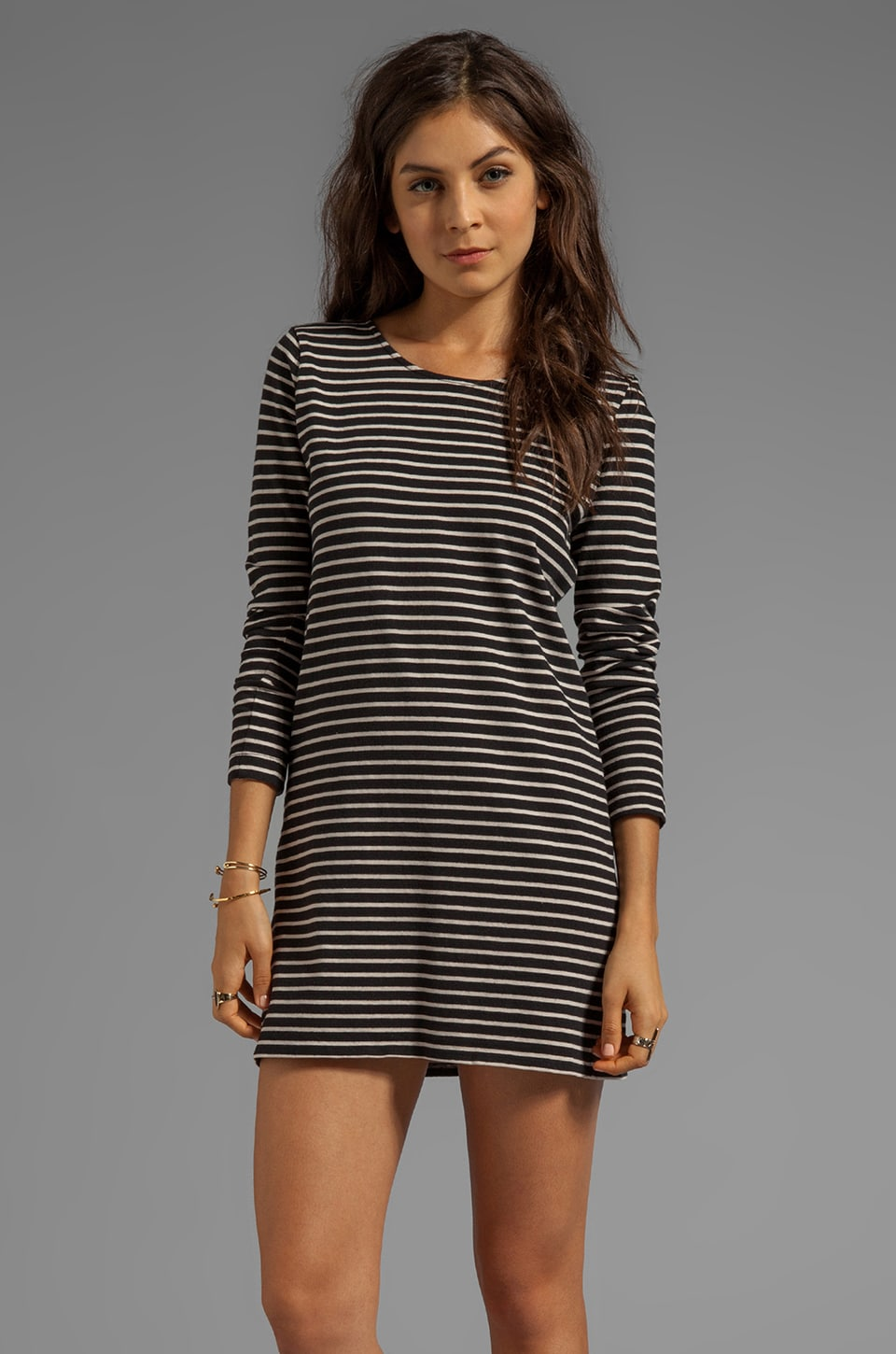Soft Joie Addington Stripe Dress in Caviar/Grey Morn