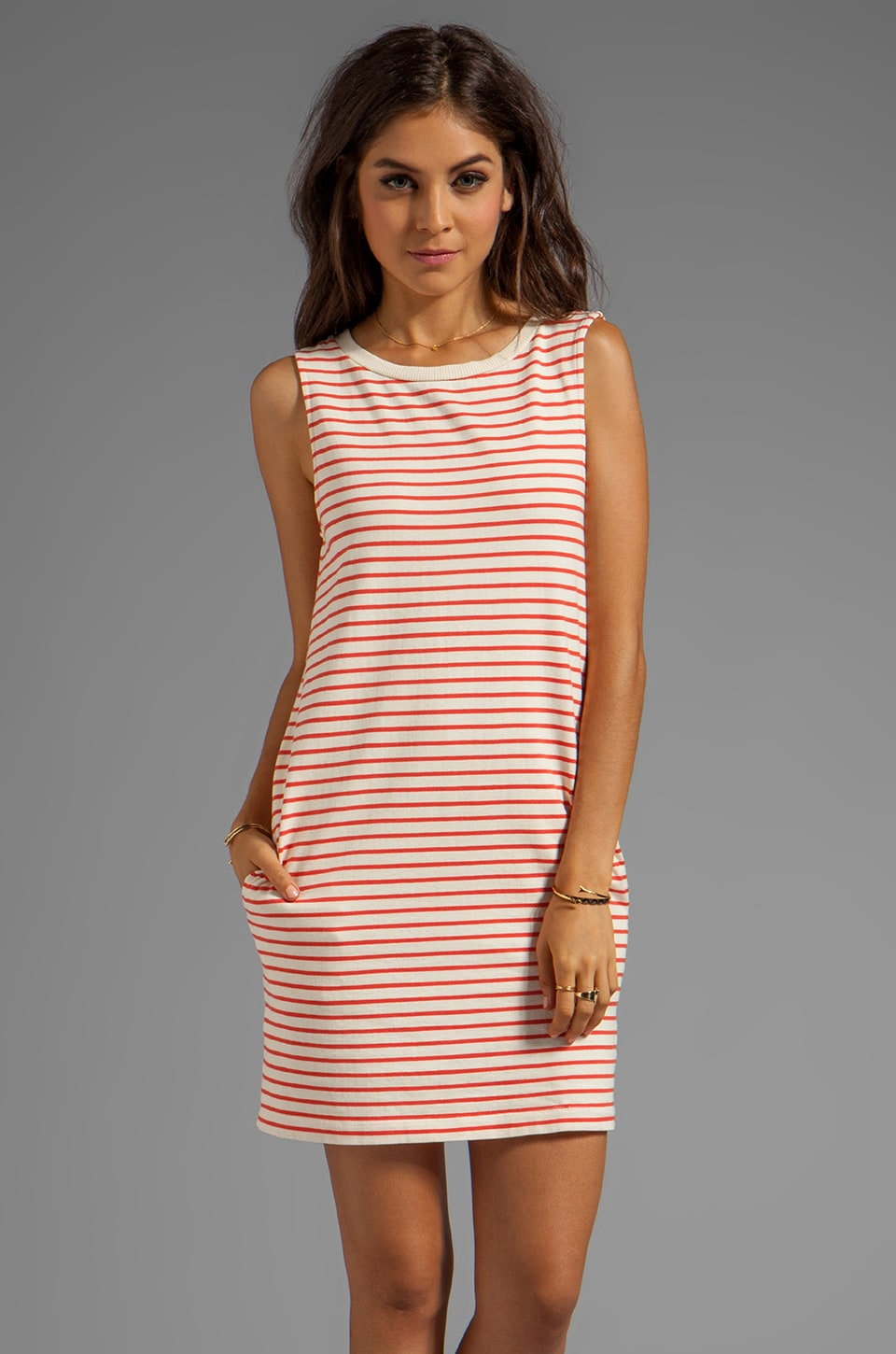Soft Joie Leiston Stripe Dress in Porcelain Pureed Pumpkin