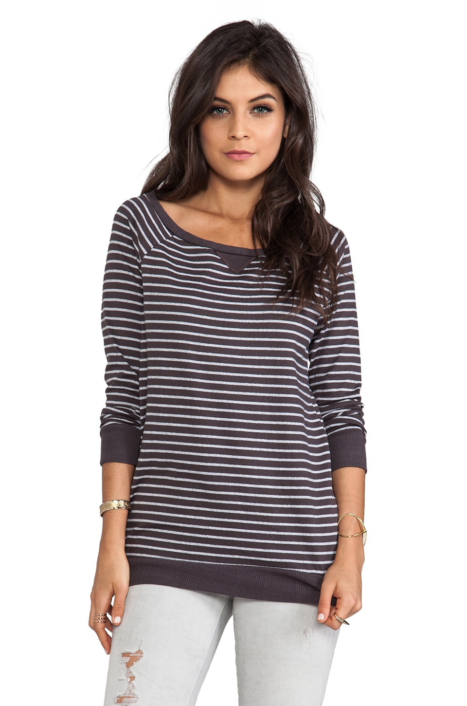 Soft Joie Briely Stripe Top in Shale/Heather Grey