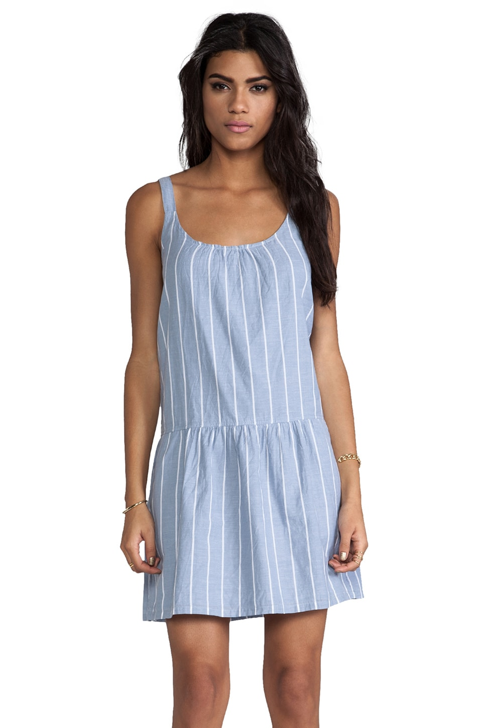 Soft Joie Pedaru Drop Waist Dress in Faded Denim & Porcelain