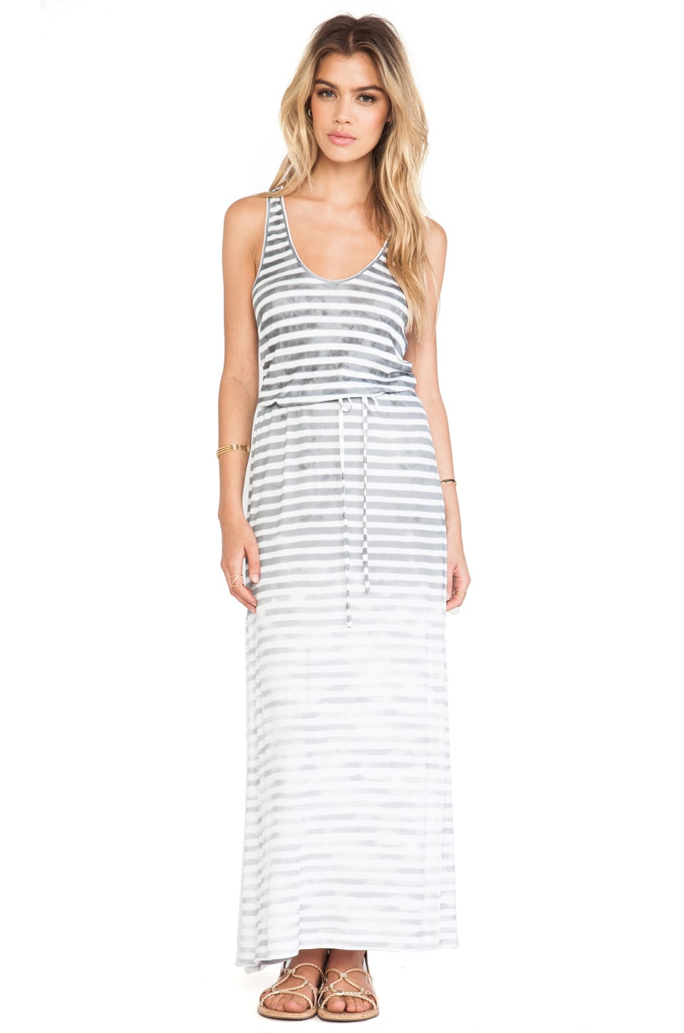 Soft Joie Emilia Maxi Dress in Ash Grey & Antique White
