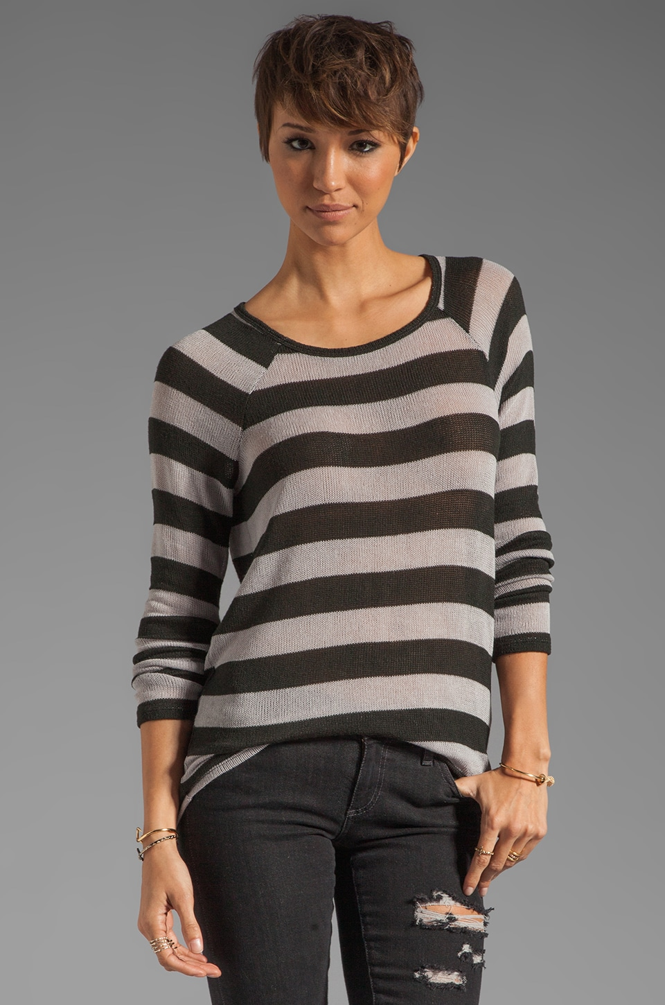 Soft Joie Dalya Stripe Sweater in Charcoal