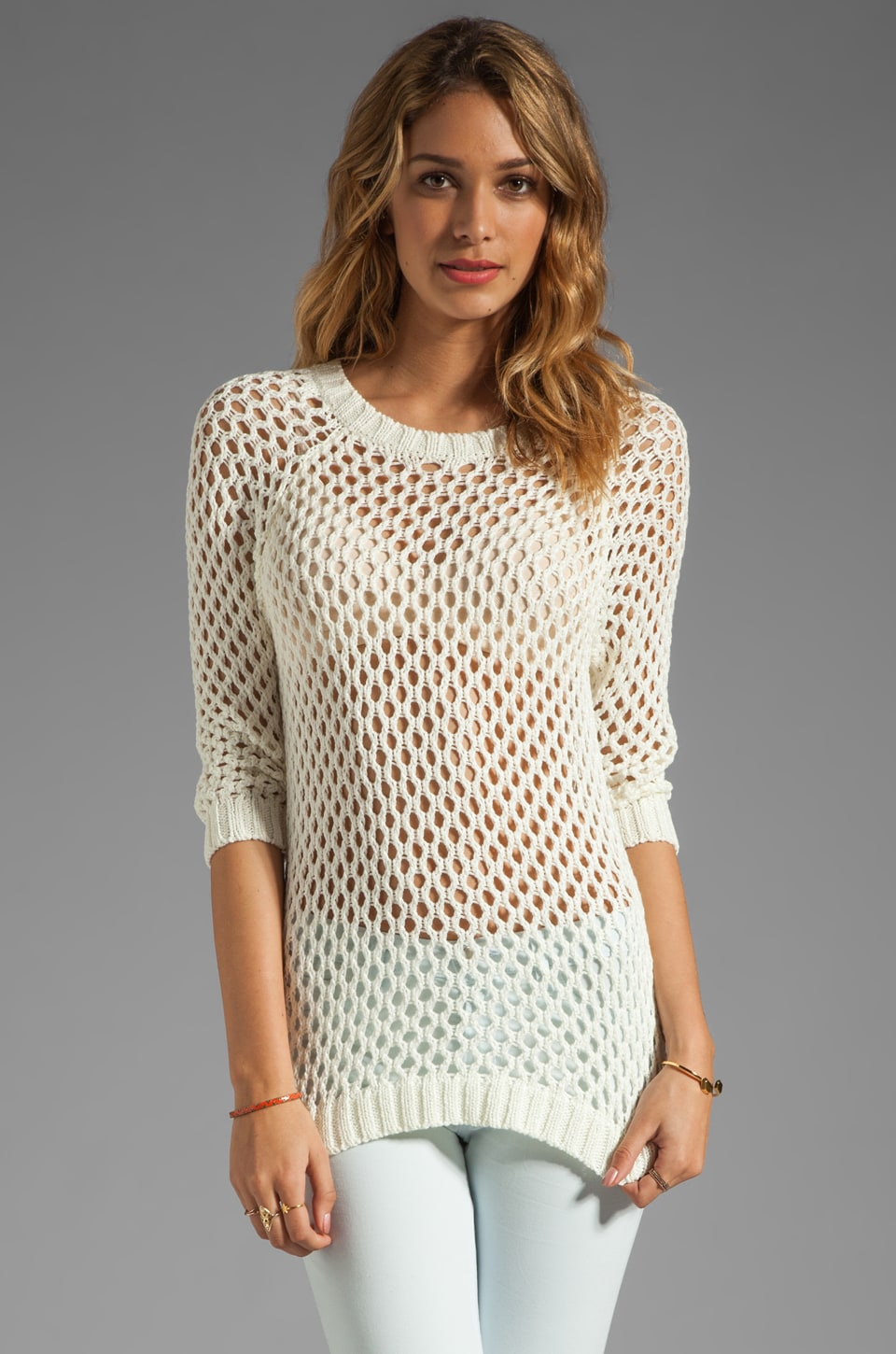 Soft Joie Addler Open Stitch Sweater in Porcelain