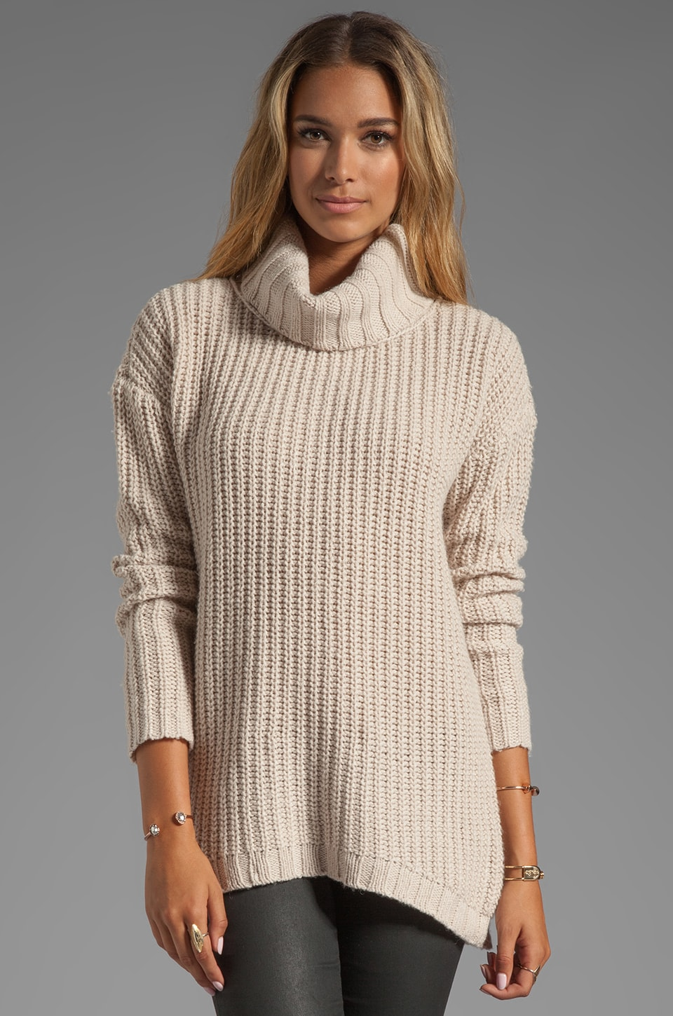 Soft Joie Alex Rib Sweater in Grey Morn