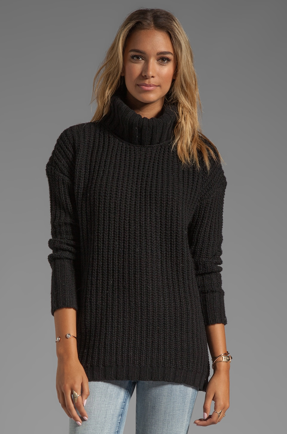 Soft Joie Alex Rib Sweater in Caviar