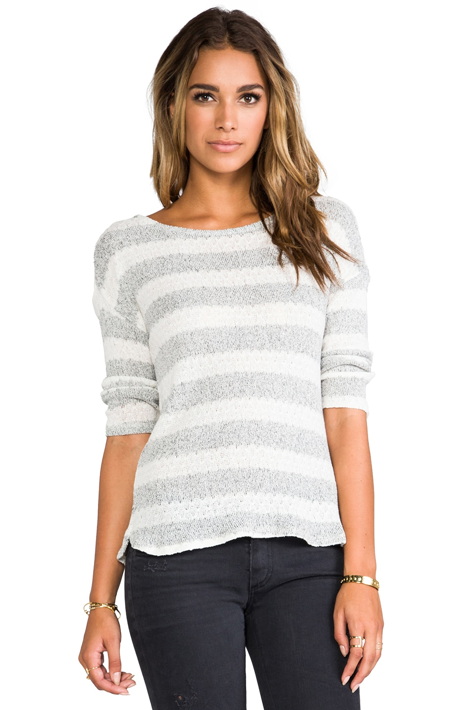Soft Joie Nash Stripe Sweater en Caviar/Light Heather Grey