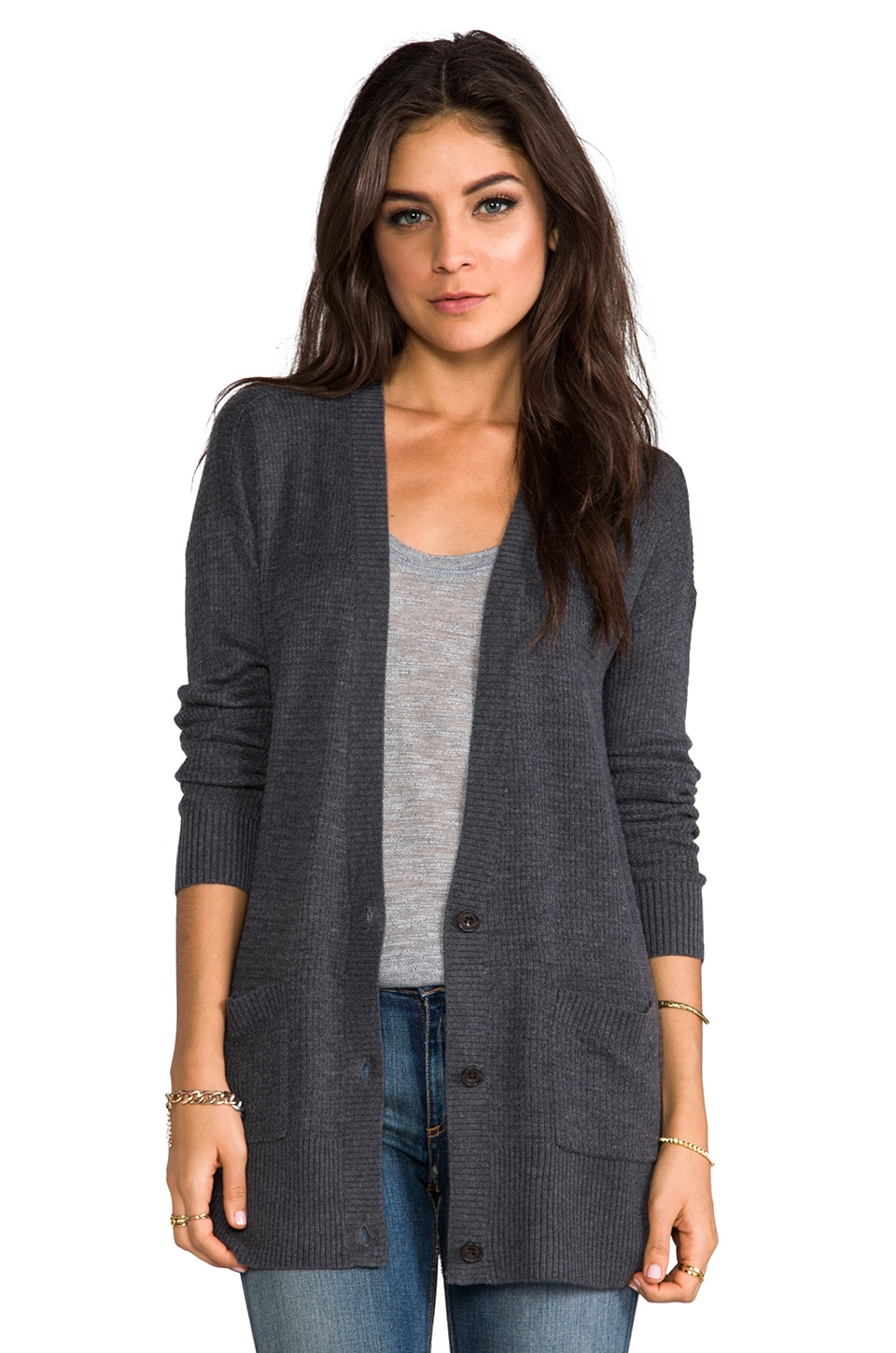 Soft Joie Roper Cardigan in Dark Heather Grey