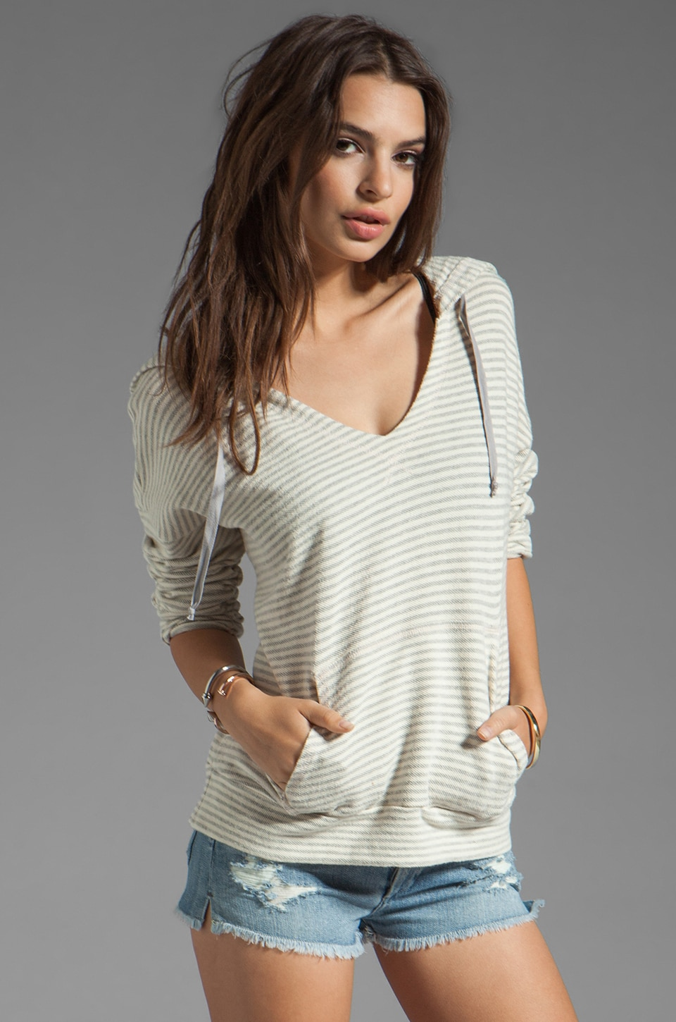 Soft Joie Evita Striped Hoodie in Heather Grey