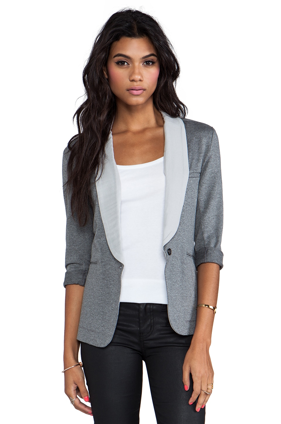 Soft Joie Neville B Blazer in Dark Heather Grey