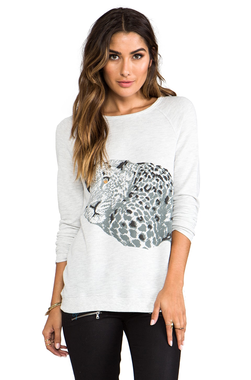 Soft Joie Annora Leopard Sweatshirt in Heather Grey