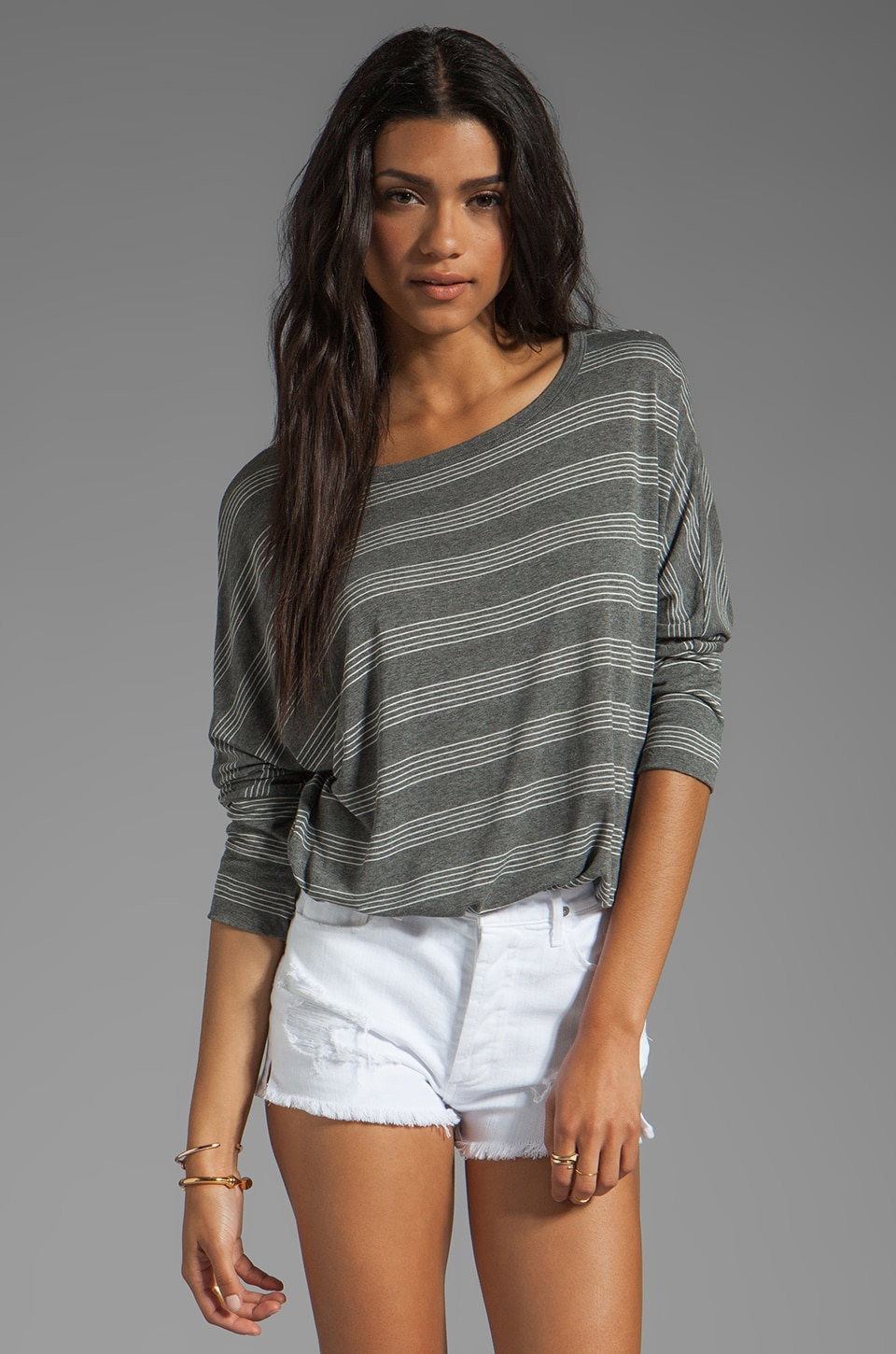 Soft Joie Sagittarius Stripe Top in Dark Heather Grey