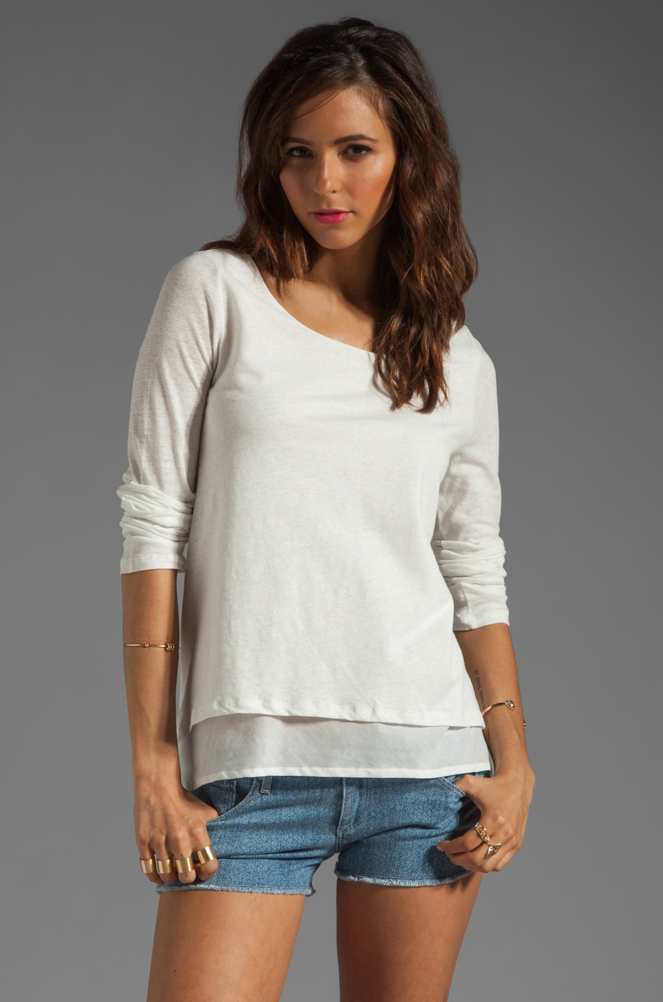 Soft Joie Ambry Layered Linen Top in Porcelain