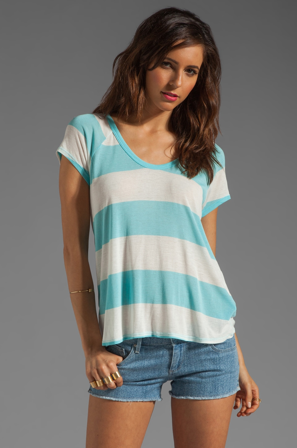 Soft Joie Apollo B Deck Stripe Top in Sea Green/Porcelain