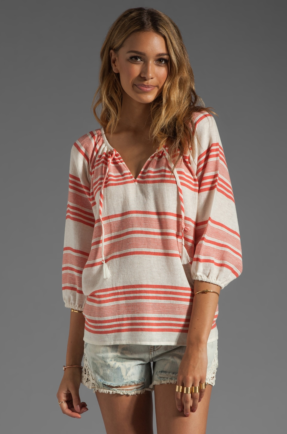 Soft Joie Legaspi Yarn Dye Top in Neon Coral