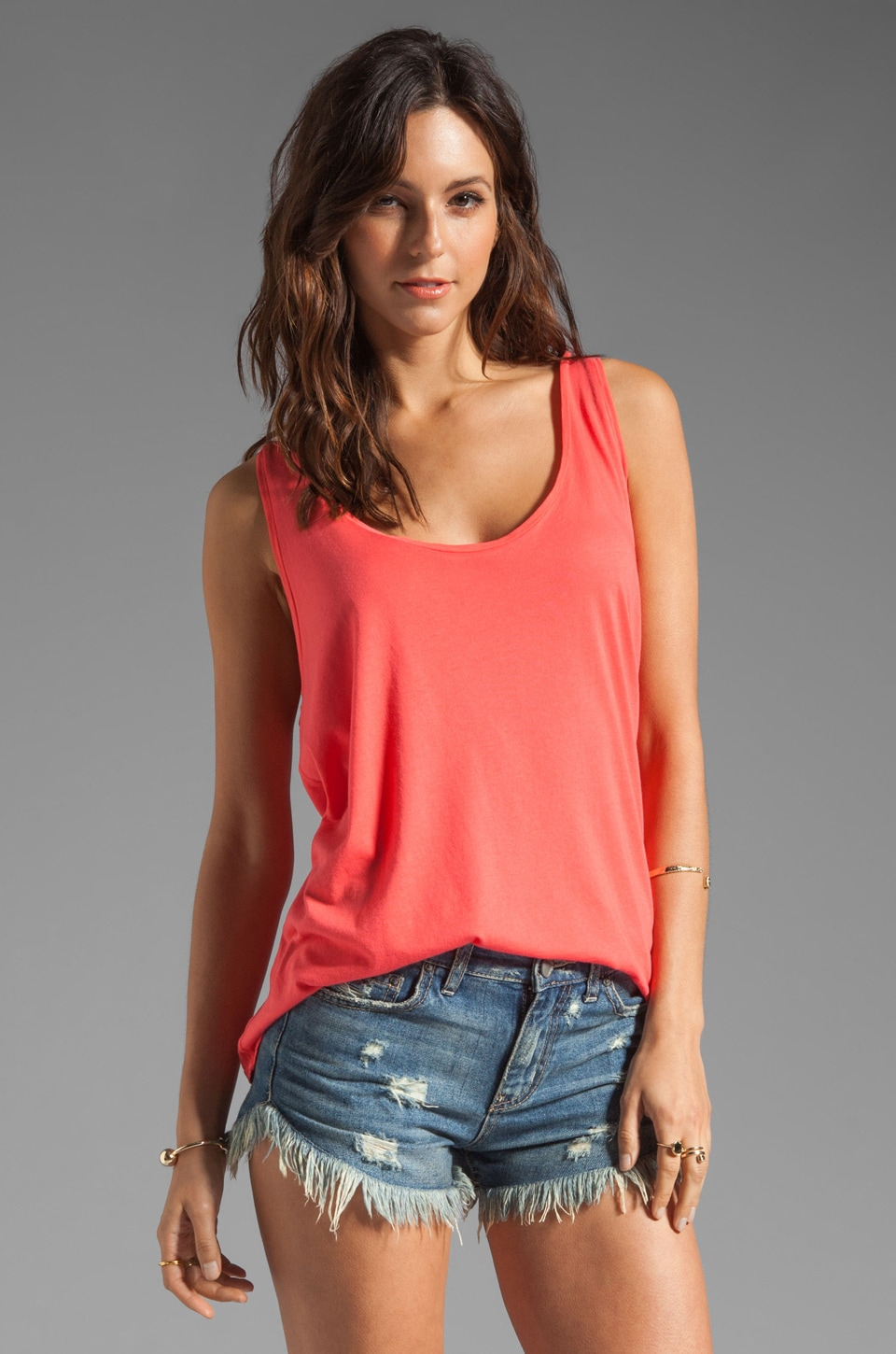 Soft Joie Ira Garmet Dyed Tank in Neon Coral