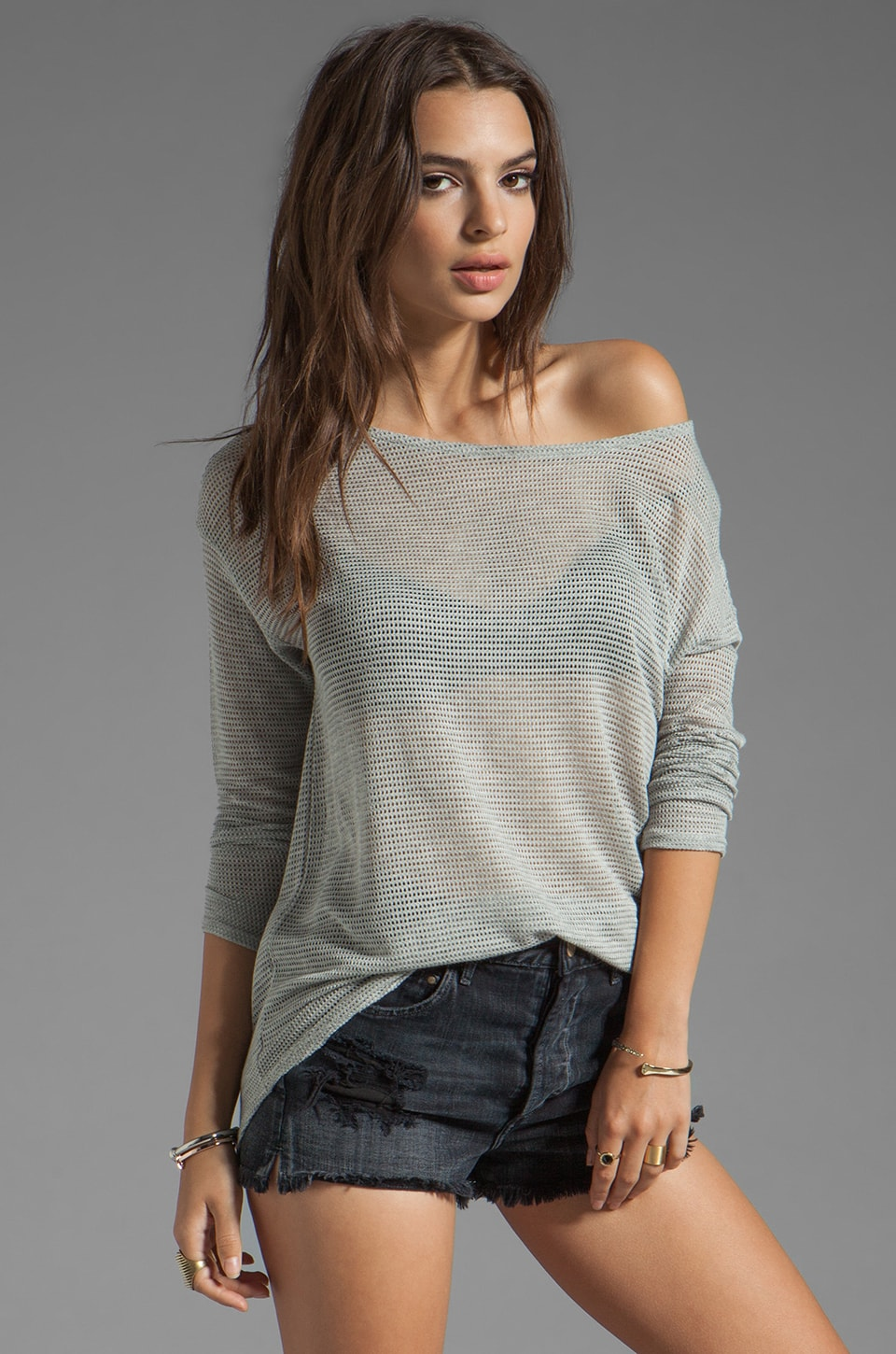 Soft Joie Benton Mesh Top in Heather Grey