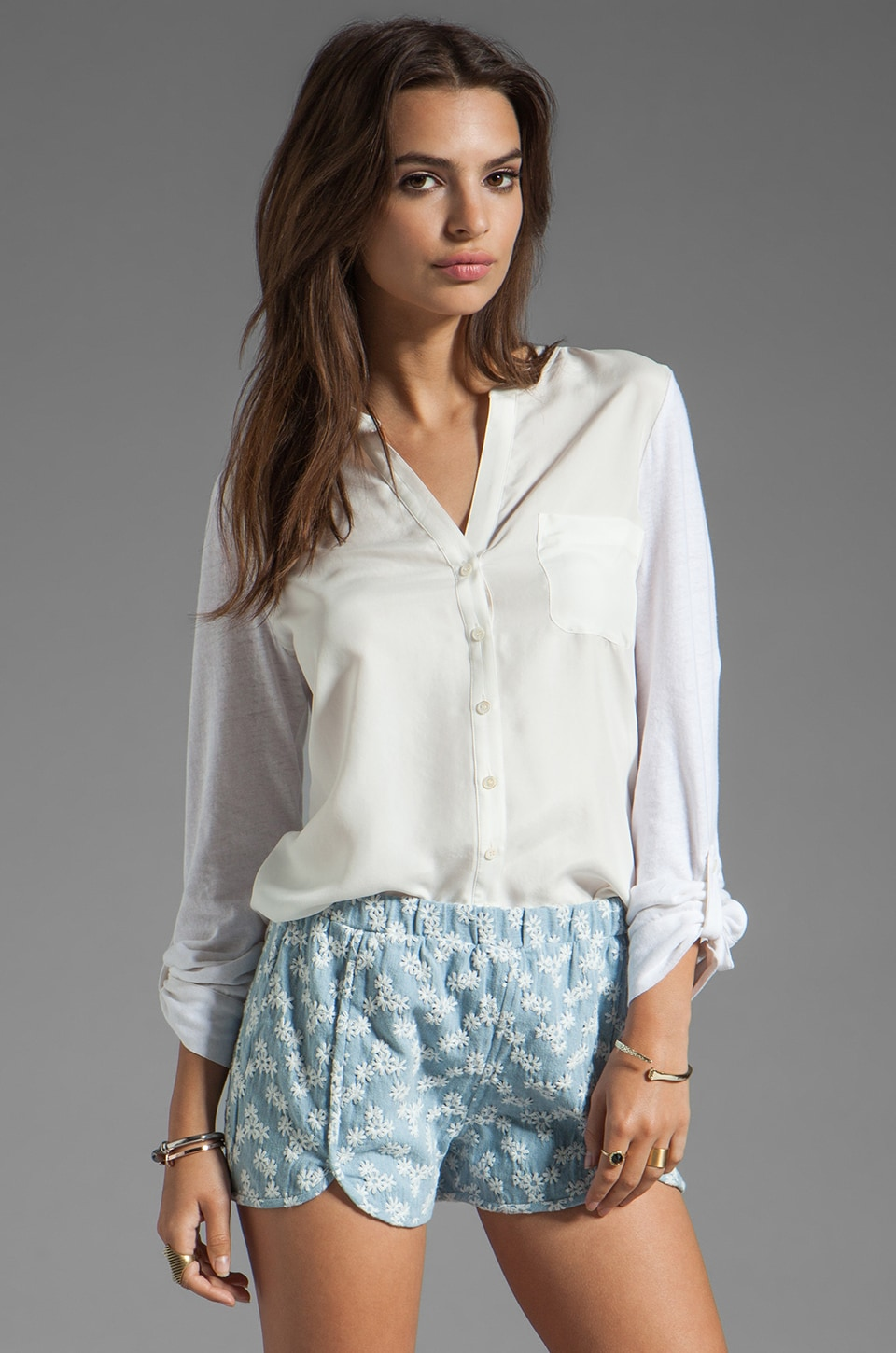 Soft Joie Evaine Button Down Top in Porcelain