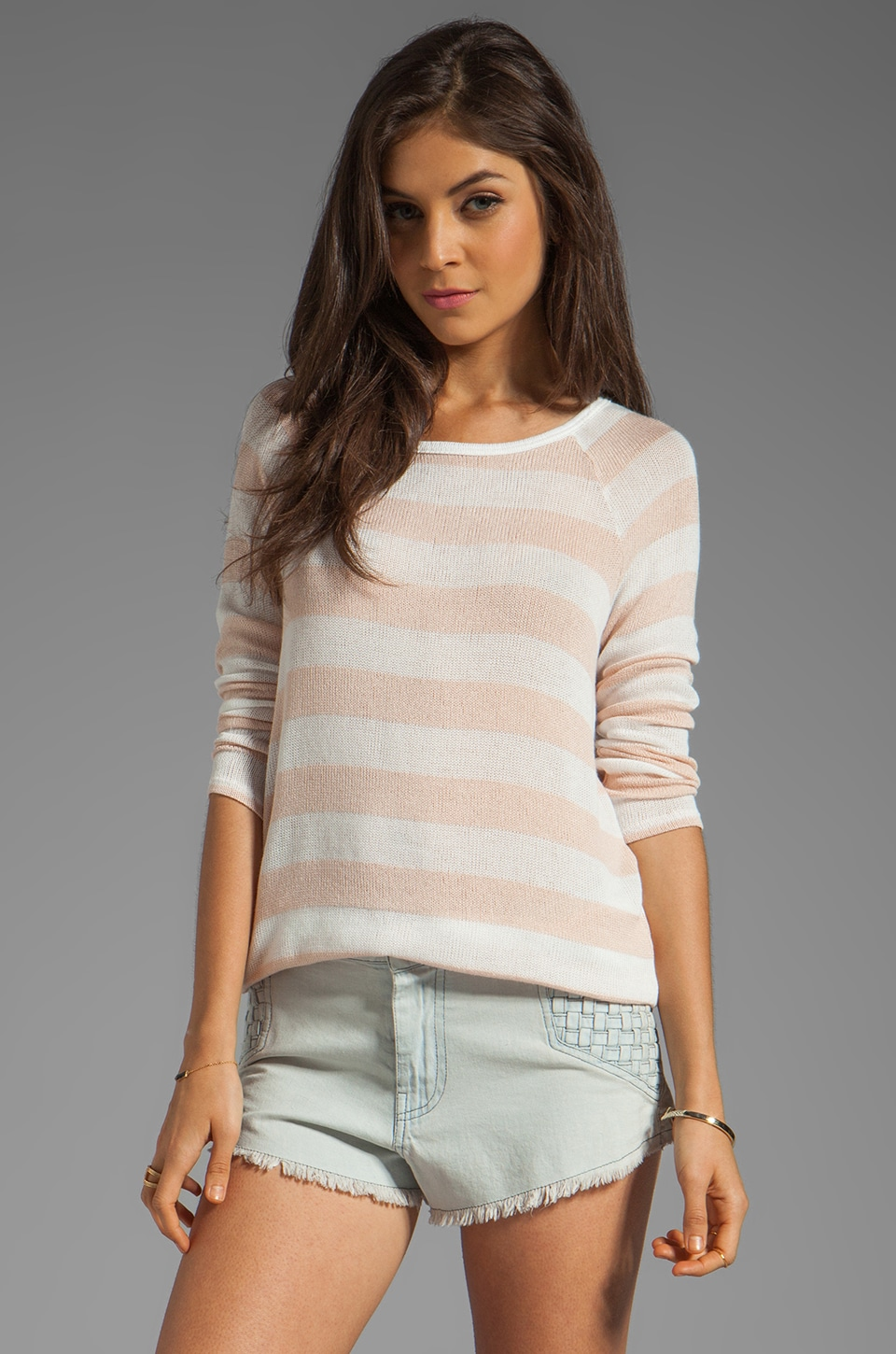 Soft Joie Dayla Stripe Top in Nude/Porcelain