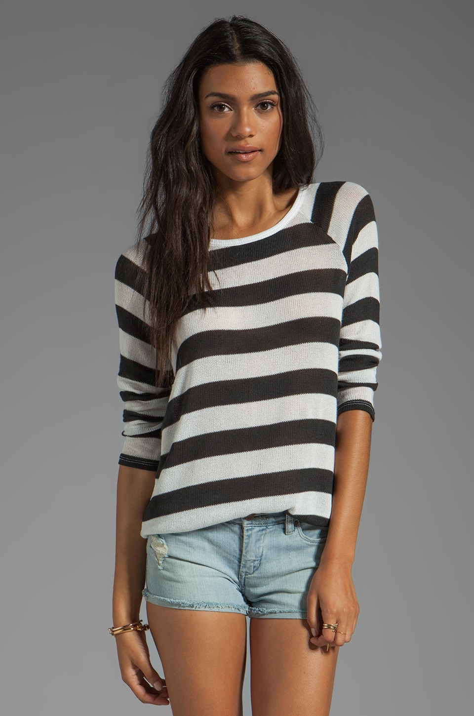 Soft Joie Dayla Stripe Top in Caviar/Porcelain