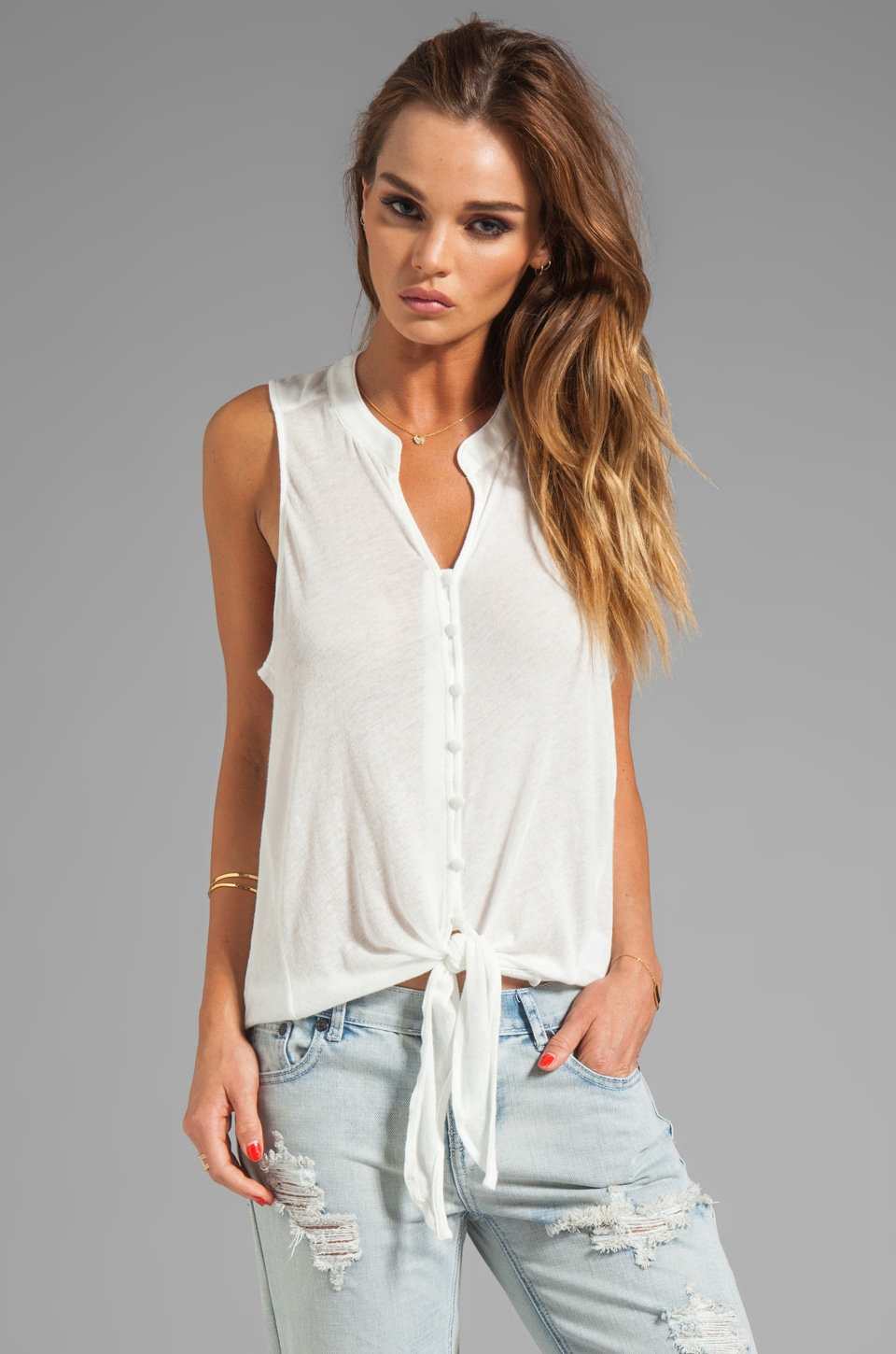 Soft Joie Cameo Tie Front Tank in Porcelain