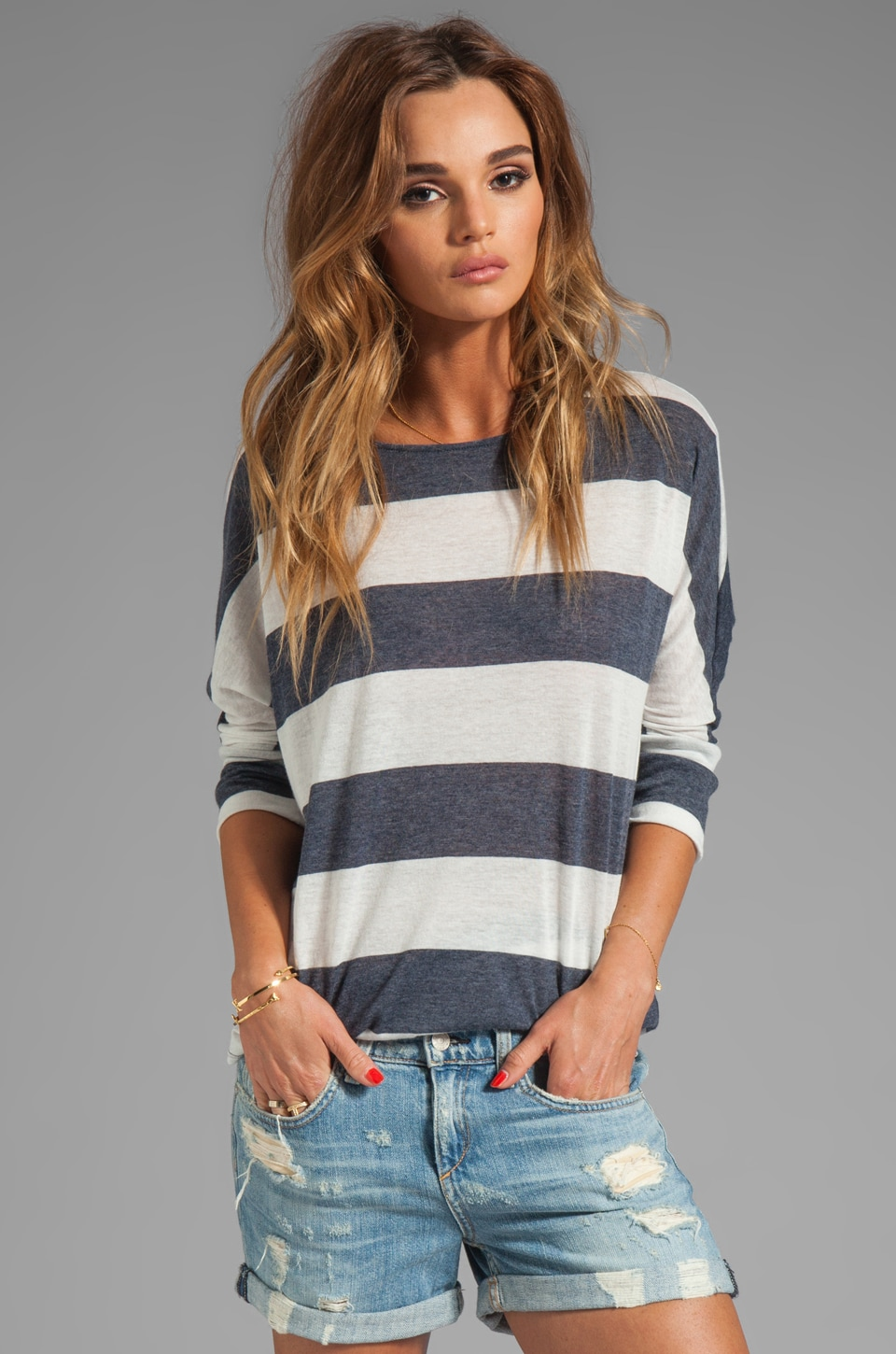 Soft Joie Sagittarius Stripe Top in Porcelain/Peacoat