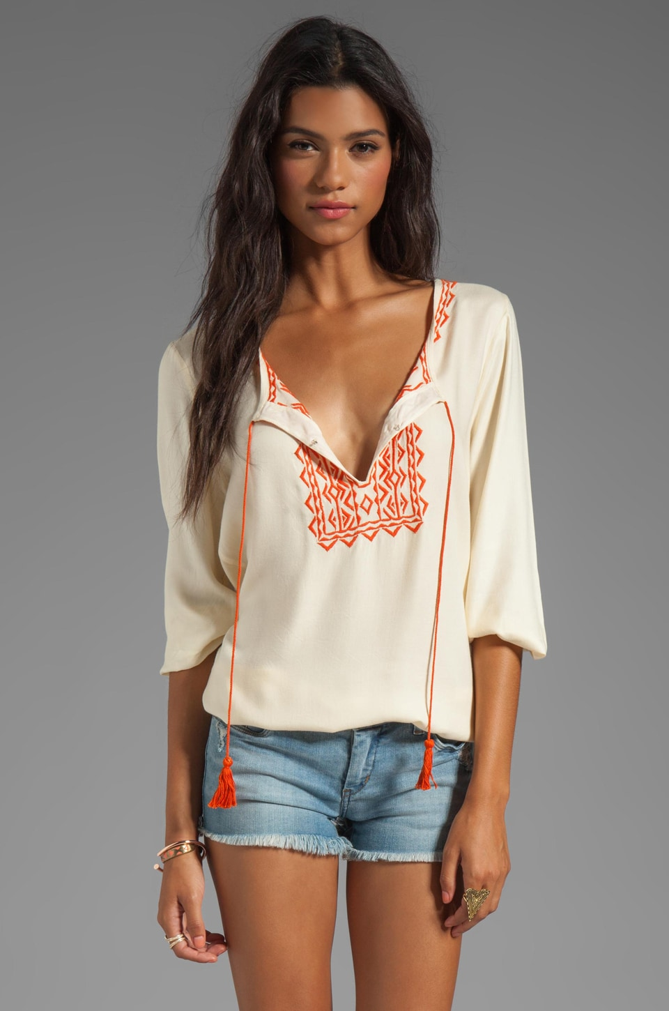 Soft Joie Calathia Embroidered Top in Vanilla/Pureed Pumpkin