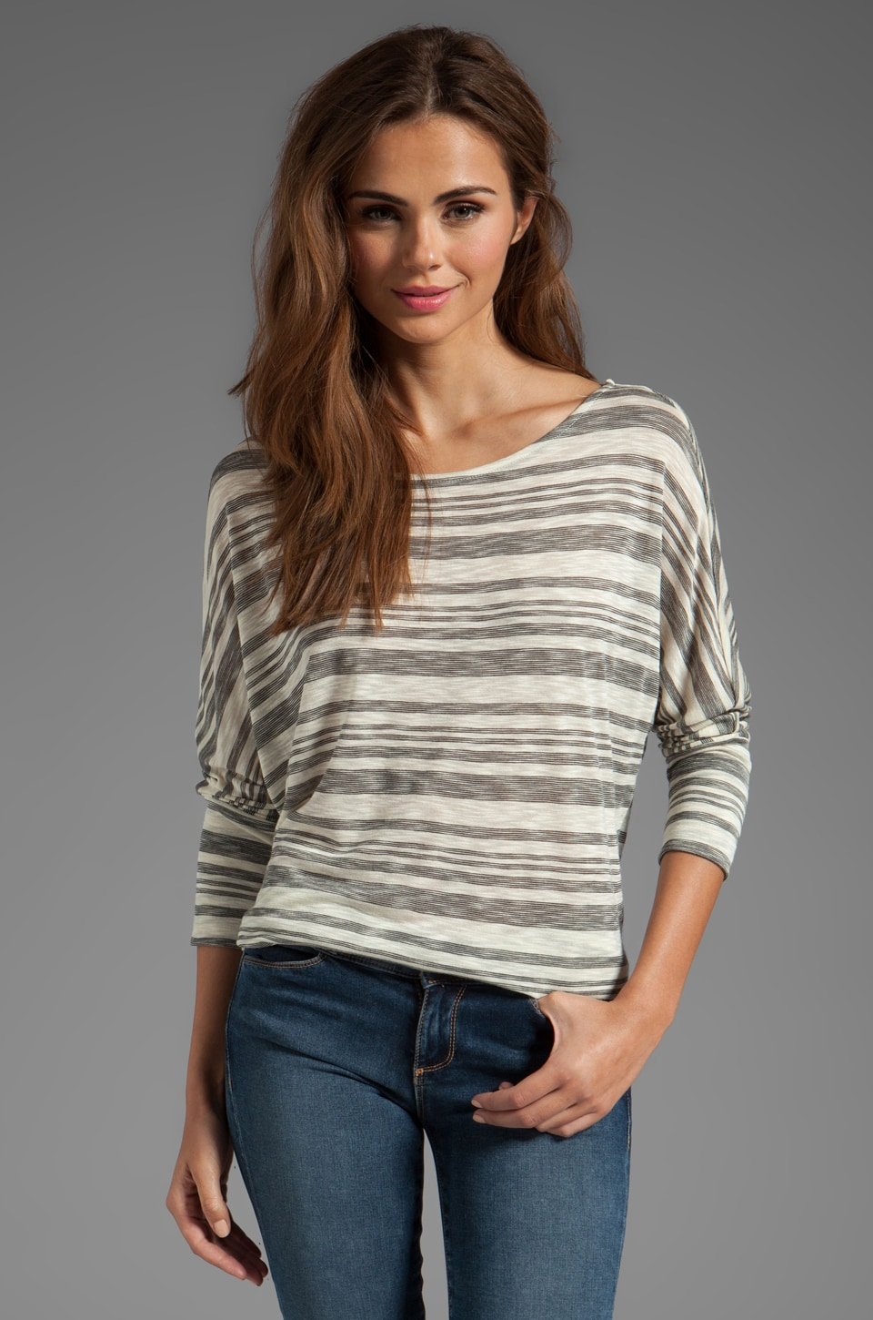 Soft Joie Sagittarius Stripe Top in Caviar/Vanilla