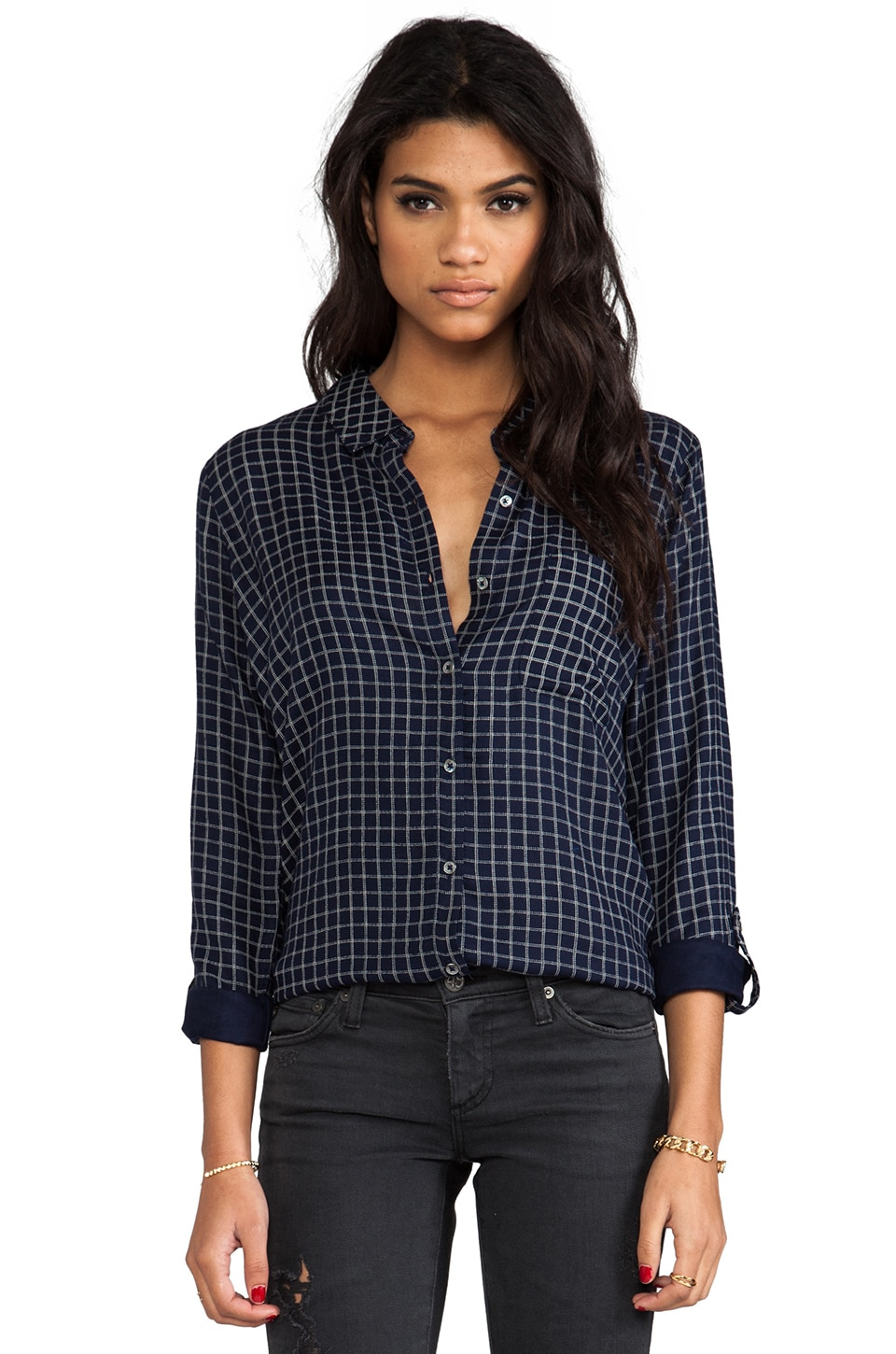 Soft Joie Anabella Plaid Button Down in Peacoat