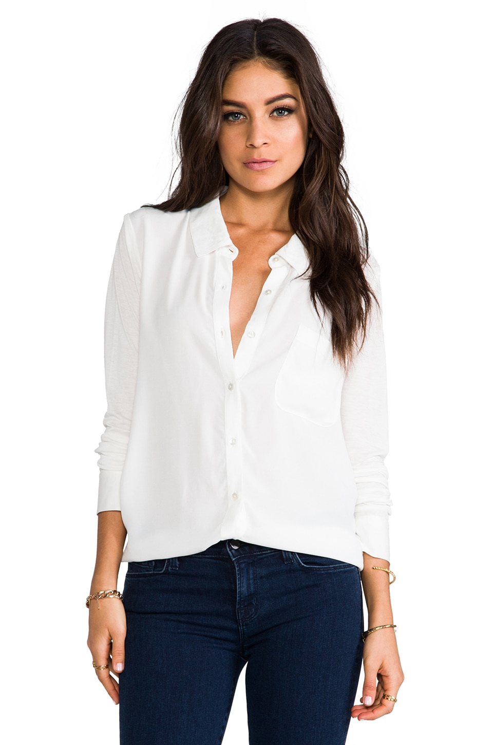 Soft Joie Anabella B Button Up in Porcelain